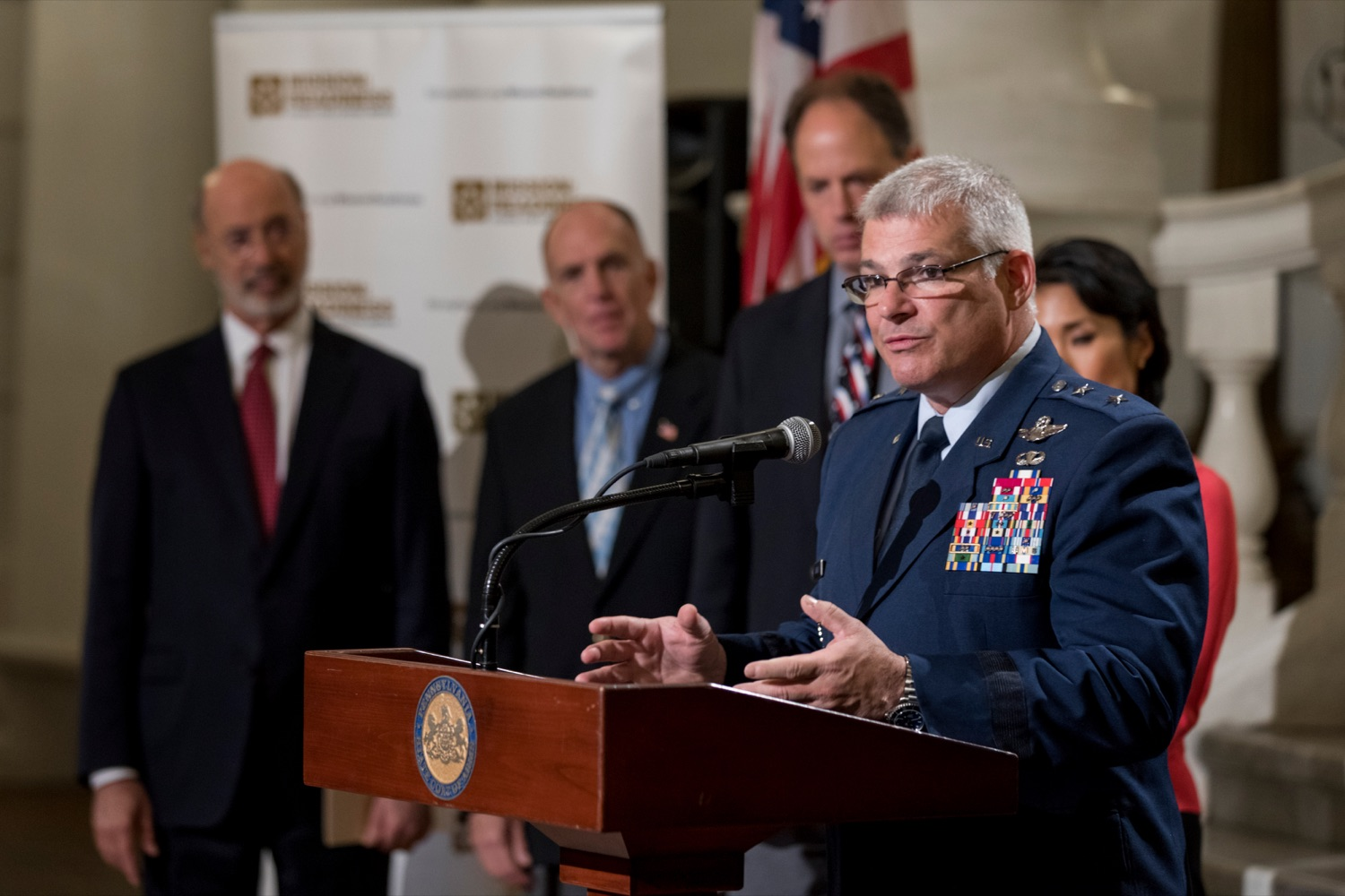 """<a href=""""https://filesource.wostreaming.net/commonwealthofpa/photo/17588_GOV_Mission_Readiness_NK_016.JPG"""" target=""""_blank"""">⇣Download Photo<br></a>Maj. Gen. Anthony Carrelli, USAF and adjutant general of Pennsylvania, speaks during a press conference outlining how competition for qualified individuals among all employment sectors affects military recruiting efforts and warrants greater investment in our next generation inside the Capitol Rotunda on Tuesday, November 12, 2019."""