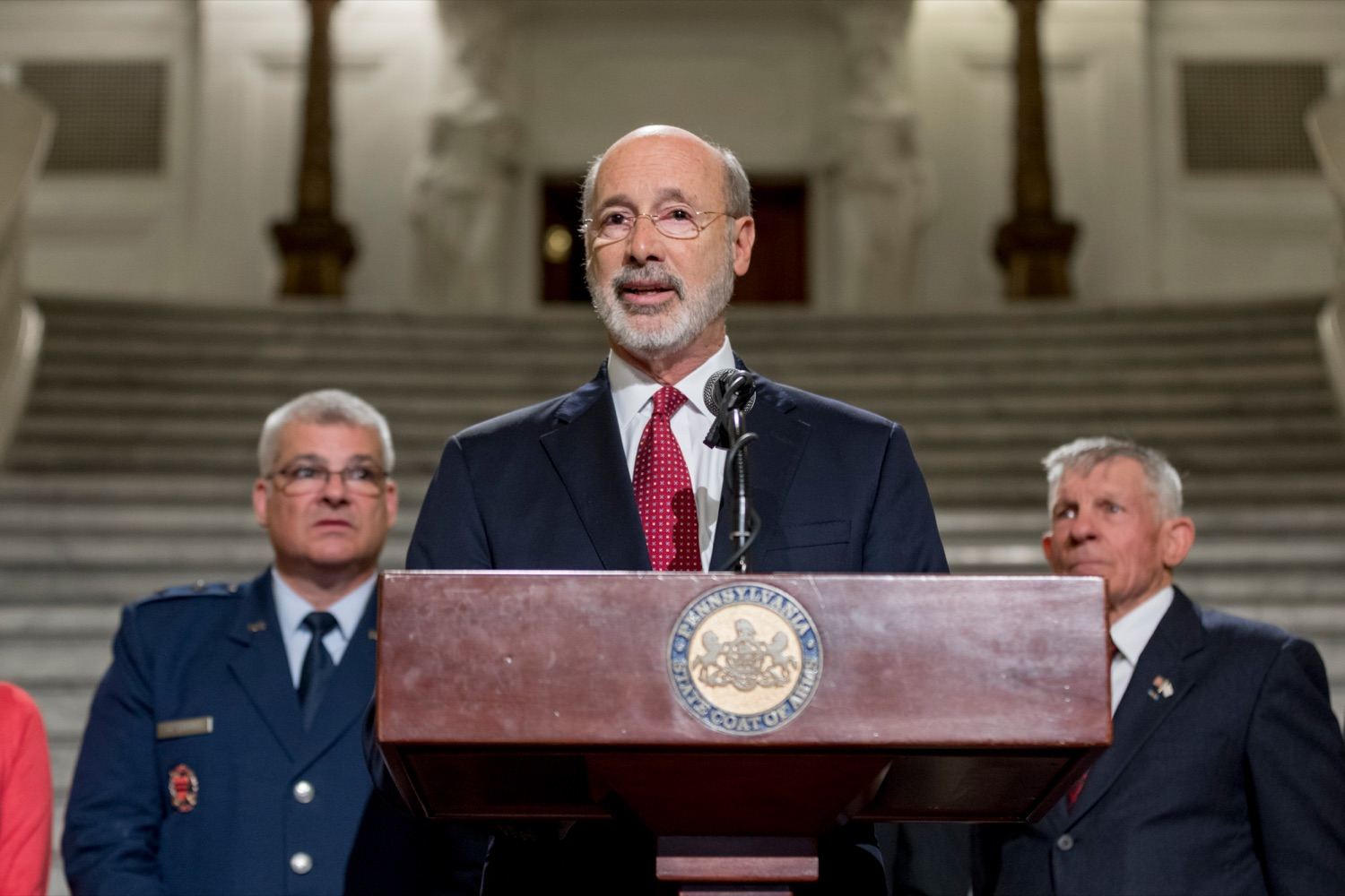 """<a href=""""https://filesource.wostreaming.net/commonwealthofpa/photo/17588_GOV_Mission_Readiness_NK_018.JPG"""" target=""""_blank"""">⇣Download Photo<br></a>Pennsylvania Governor Tom Wolf speaks during a press conference outlining how competition for qualified individuals among all employment sectors affects military recruiting efforts and warrants greater investment in our next generation inside the Capitol Rotunda on Tuesday, November 12, 2019."""