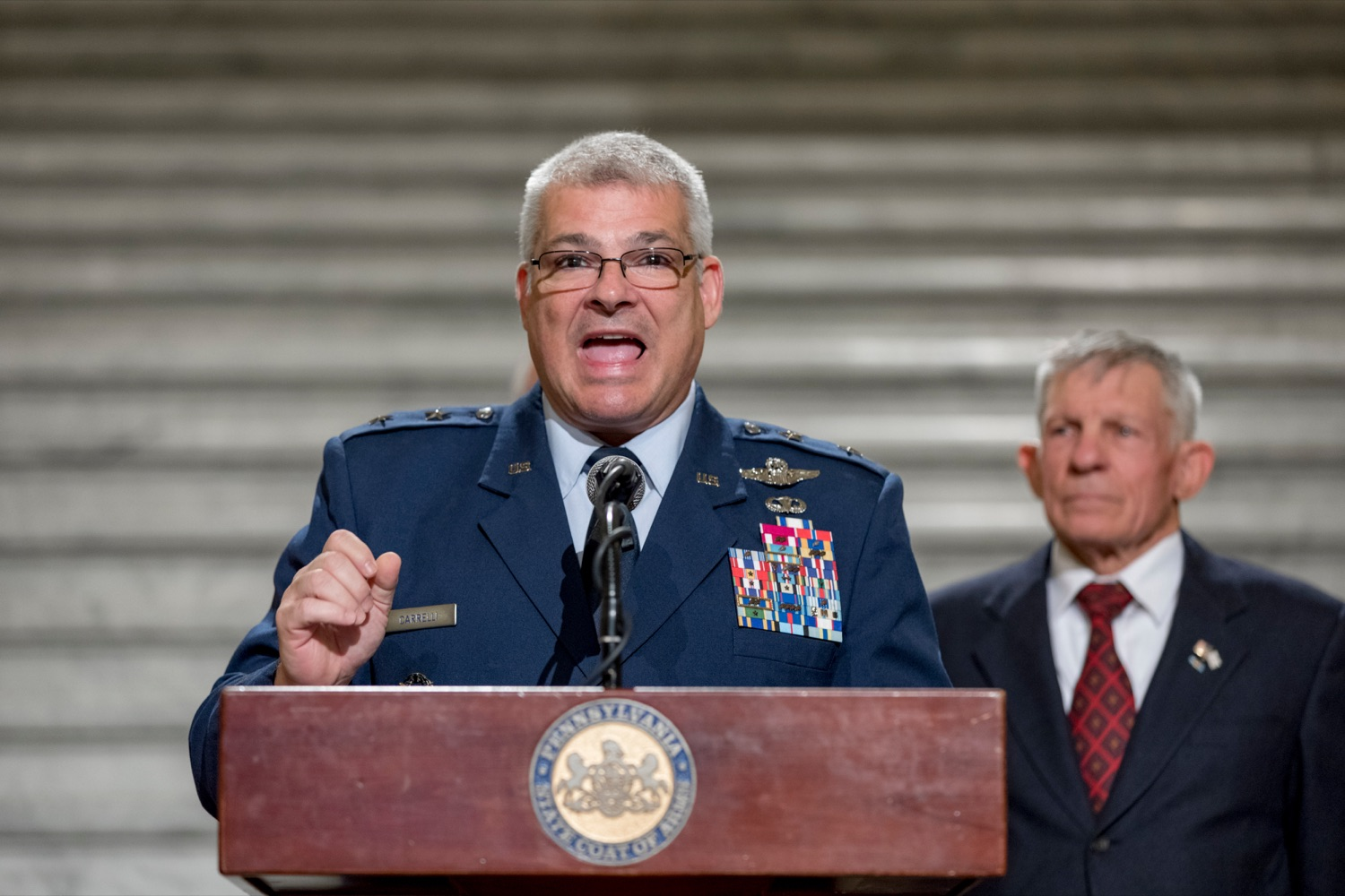 """<a href=""""https://filesource.wostreaming.net/commonwealthofpa/photo/17588_GOV_Mission_Readiness_NK_023.JPG"""" target=""""_blank"""">⇣Download Photo<br></a>Maj. Gen. Anthony Carrelli, USAF and adjutant general of Pennsylvania, speaks during a press conference outlining how competition for qualified individuals among all employment sectors affects military recruiting efforts and warrants greater investment in our next generation inside the Capitol Rotunda on Tuesday, November 12, 2019."""