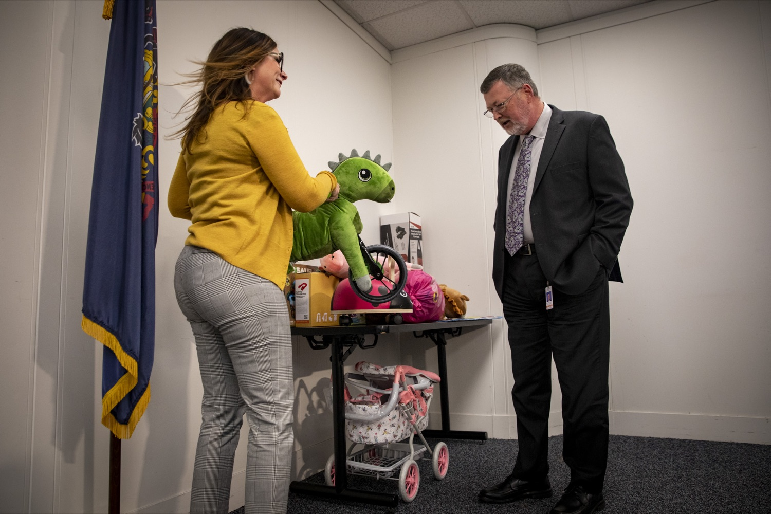 """<a href=""""https://filesource.wostreaming.net/commonwealthofpa/photo/17589_LandI_TOY_DONATION_CZ_08.JPG"""" target=""""_blank"""">⇣Download Photo<br></a>Labor and Industry Secretary Gerard Oleksiak looks at toys that will be given to the commonwealths 30th annual Holiday Wish program gift drive on November 14, 2019."""
