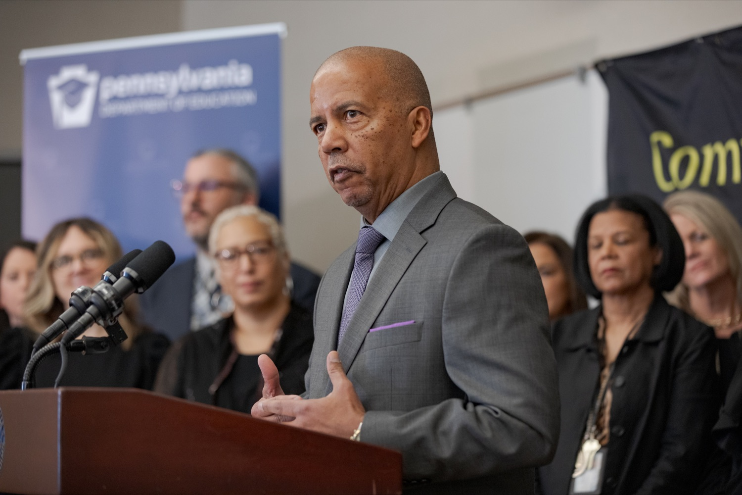 "<a href=""https://filesource.wostreaming.net/commonwealthofpa/photo/17592_EDU_Aspiring_NK_005.JPG"" target=""_blank"">⇣ Download Photo<br></a>Dr. Donald Guy Generals, president of the Community College of Philadelphia, speaks during a press conference, announcing the School District of Philadelphia's new pilot program, Aspiring to Educate, that aims to cultivate and diversify the citys educator pool, inside Community College of Philadelphia's Center for Business and Industry on Wednesday, November 20, 2019."