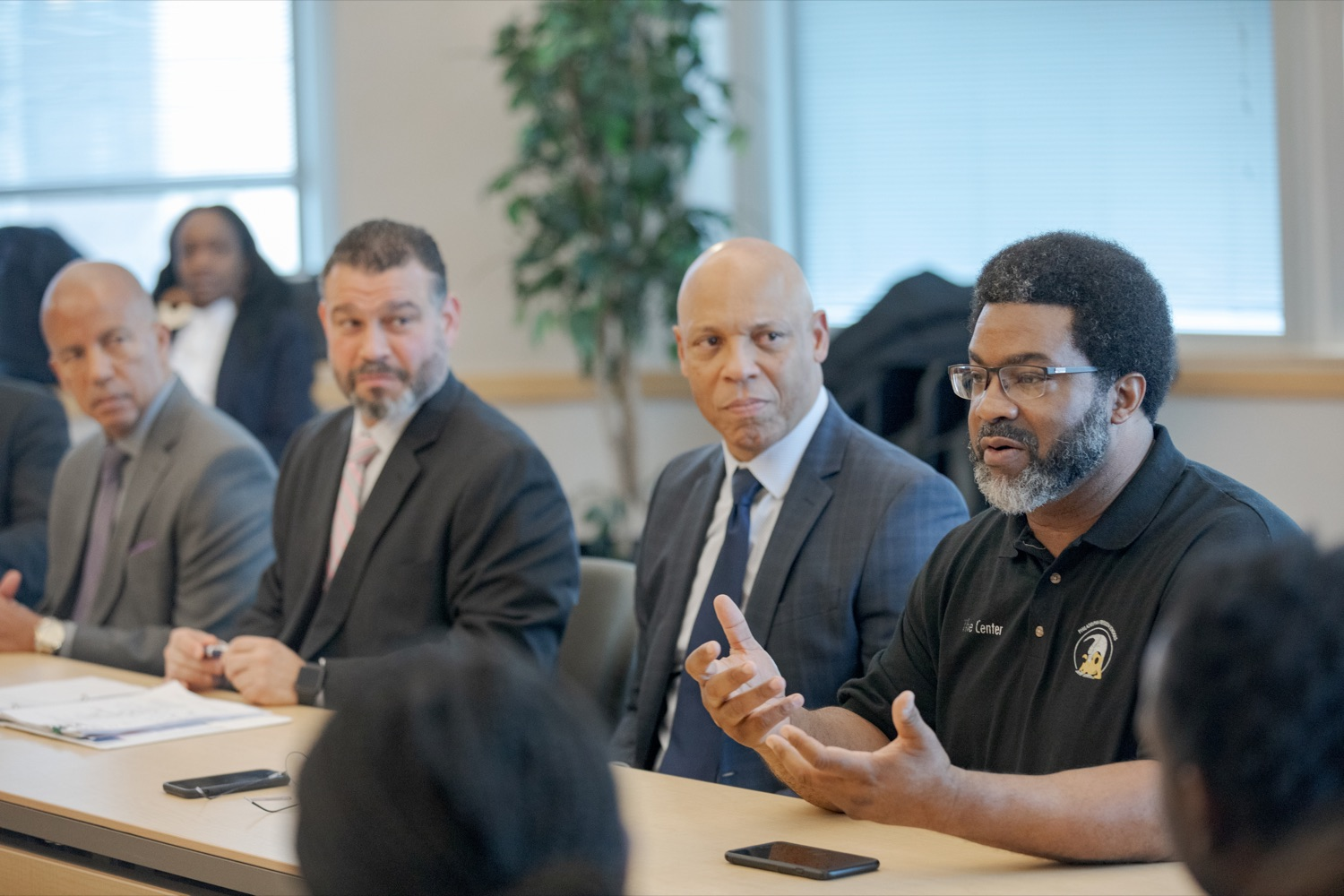 "<a href=""https://filesource.wostreaming.net/commonwealthofpa/photo/17592_EDU_Aspiring_NK_018.JPG"" target=""_blank"">⇣ Download Photo<br></a>Sharif El-Mekki, founder of the Center for Black Educator Development, right, speaks before a press conference, announcing the School District of Philadelphia's new pilot program, Aspiring to Educate, that aims to cultivate and diversify the citys educator pool, inside Community College of Philadelphia's Center for Business and Industry on Wednesday, November 20, 2019."