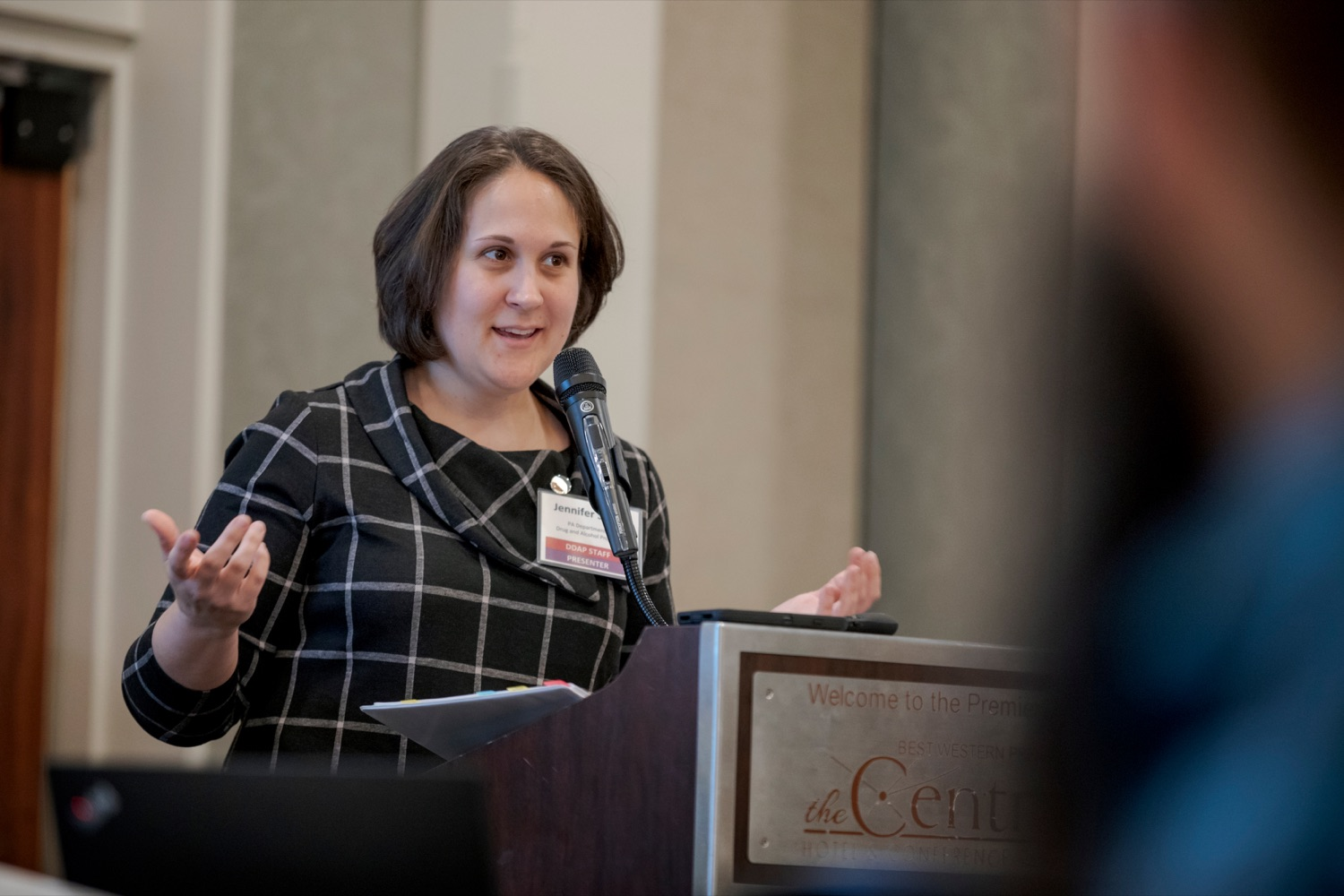 "<a href=""https://filesource.wostreaming.net/commonwealthofpa/photo/17596_DDAP_Psychostimulants_NK_008.JPG"" target=""_blank"">⇣ Download Photo<br></a>Department of Drug and Alcohol Program Secretary Jen Smith speaks during a symposium addressing the rising trend of stimulant usage across the commonwealth, at the Best Western Premier in Harrisburg on Tuesday, November 19, 2019."