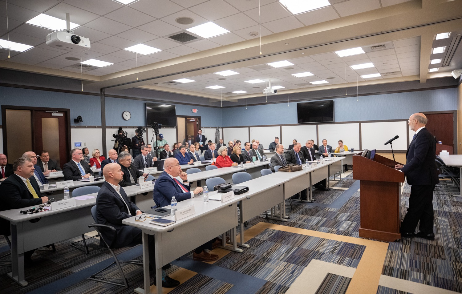 """<a href=""""https://filesource.wostreaming.net/commonwealthofpa/photo/17598_gov_charter_schools_dz_003.jpg"""" target=""""_blank"""">⇣Download Photo<br></a>Pennsylvania Governor Tom Wolf speaks about charter school reform at a meeting of the Pennsylvania Association of School Administrators.  Governor Tom Wolfs commonsense plan to improve the educational quality of charter schools and control rising costs will save nearly $280 million a year, the governor told the Pennsylvania Association of School Administrators today. The governor has a three-part plan to fix Pennsylvanias charter school law which is regarded as one of the worst in the nation.  - Harrisburg, PA. Friday, November 15, 2019."""