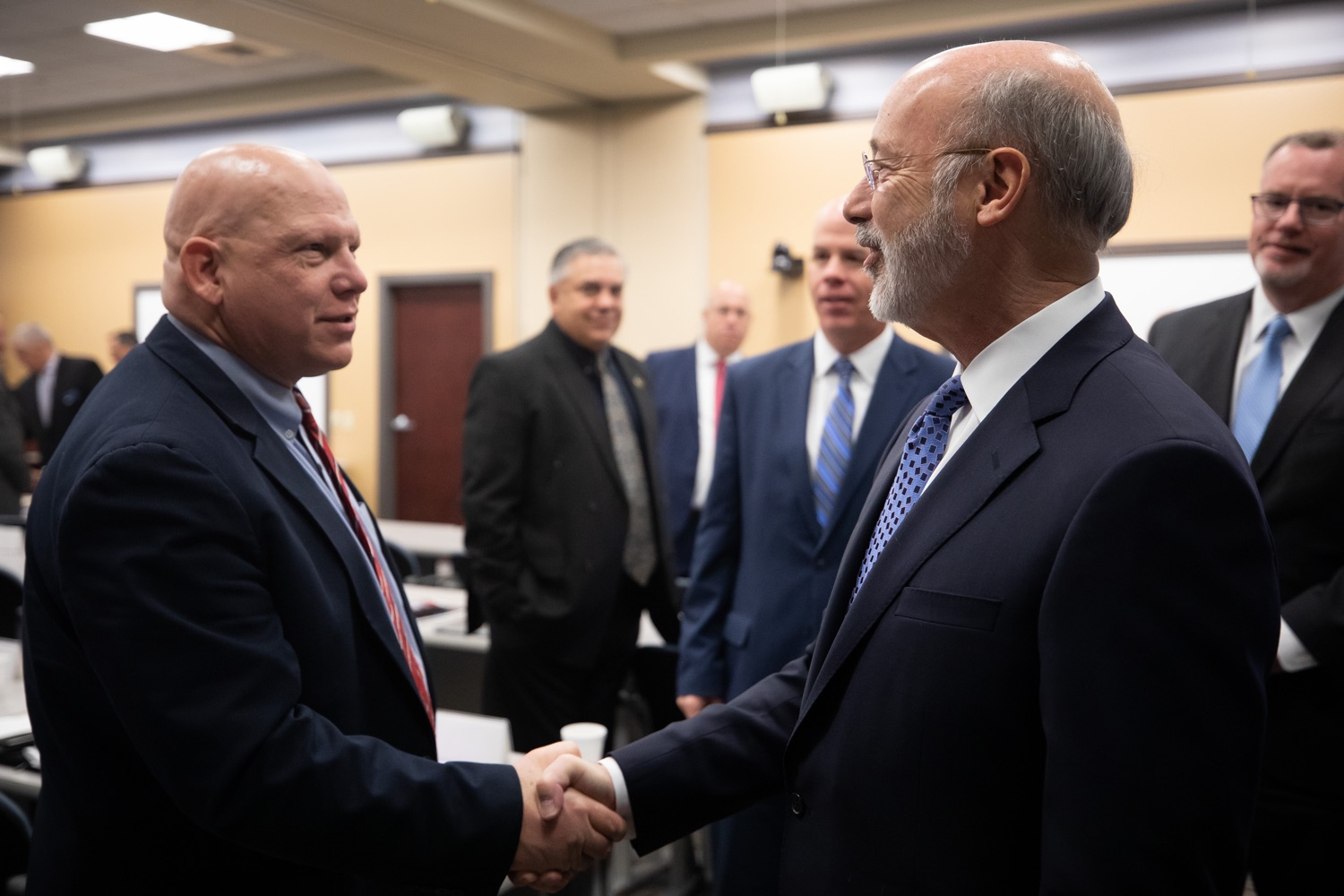 """<a href=""""https://filesource.wostreaming.net/commonwealthofpa/photo/17598_gov_charter_schools_dz_015.jpg"""" target=""""_blank"""">⇣Download Photo<br></a>Pennsylvania Governor Tom Wolf greeting administrators at thd Pennsylvania Association of School Administrators. Governor Tom Wolfs commonsense plan to improve the educational quality of charter schools and control rising costs will save nearly $280 million a year, the governor told the Pennsylvania Association of School Administrators today. The governor has a three-part plan to fix Pennsylvanias charter school law which is regarded as one of the worst in the nation.  - Harrisburg, PA. Friday, November 15, 2019."""
