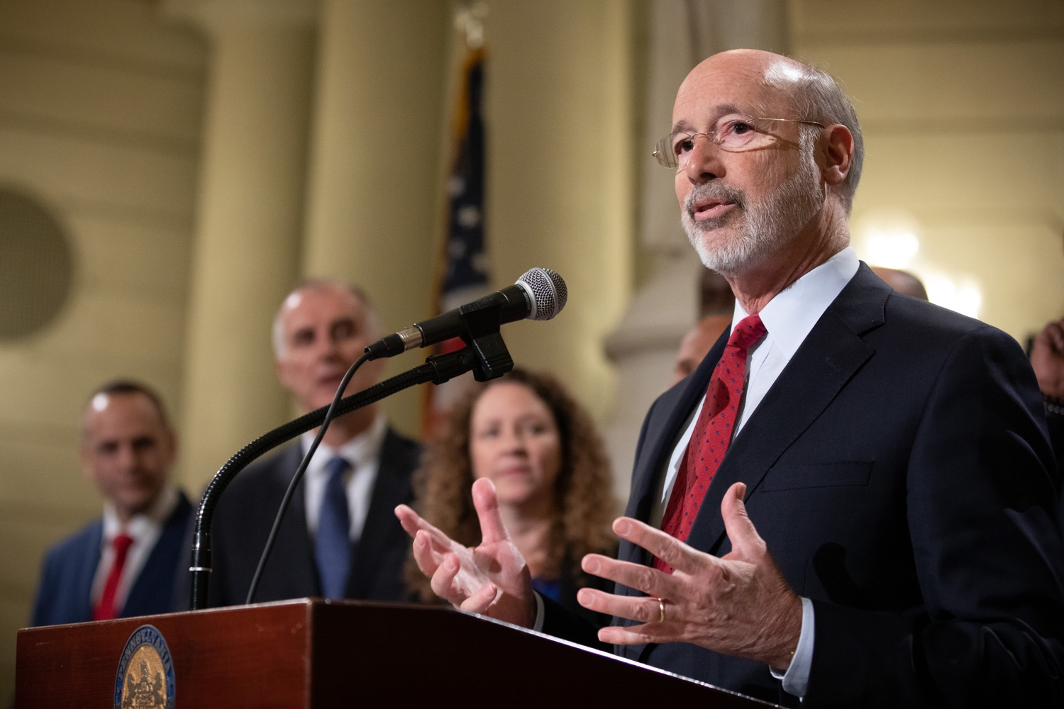 """<a href=""""https://filesource.wostreaming.net/commonwealthofpa/photo/17601_gov_right_on_crime_dz_001.jpg"""" target=""""_blank"""">⇣Download Photo<br></a>Governor Tom Wolf speaking at the event. Governor Tom Wolf was joined by Deputy Secretary of Corrections Christian Stephens and national criminal justice reform advocates today in the Capitol Rotunda to push for commonsense probation reforms that address probation sentences and probation lengths.  Harrisburg, PA  November 18, 2019"""