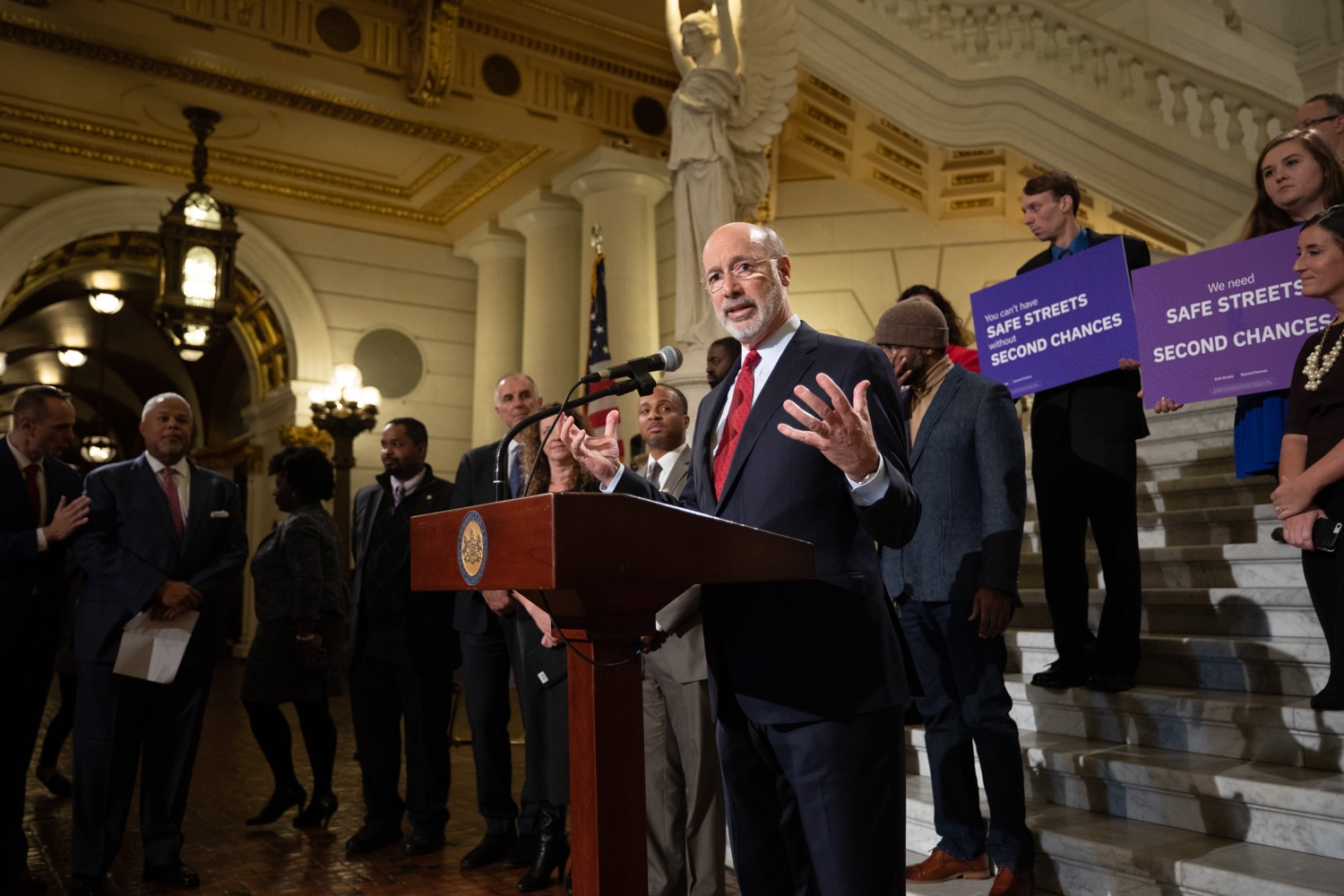 """<a href=""""https://filesource.wostreaming.net/commonwealthofpa/photo/17601_gov_right_on_crime_dz_002.jpg"""" target=""""_blank"""">⇣Download Photo<br></a>Governor Tom Wolf speaking at the event. Governor Tom Wolf was joined by Deputy Secretary of Corrections Christian Stephens and national criminal justice reform advocates today in the Capitol Rotunda to push for commonsense probation reforms that address probation sentences and probation lengths.  Harrisburg, PA  November 18, 2019"""