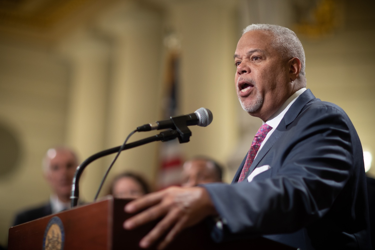 """<a href=""""https://filesource.wostreaming.net/commonwealthofpa/photo/17601_gov_right_on_crime_dz_005.jpg"""" target=""""_blank"""">⇣Download Photo<br></a>Pennsylvania State Senator Williams speaking at the event. Governor Tom Wolf was joined by Deputy Secretary of Corrections Christian Stephens and national criminal justice reform advocates today in the Capitol Rotunda to push for commonsense probation reforms that address probation sentences and probation lengths.  Harrisburg, PA  November 18, 2019"""