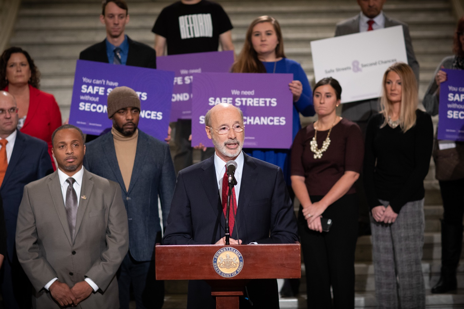 """<a href=""""https://filesource.wostreaming.net/commonwealthofpa/photo/17601_gov_right_on_crime_dz_007.jpg"""" target=""""_blank"""">⇣Download Photo<br></a>Governor Tom Wolf speaking at the event. Governor Tom Wolf was joined by Deputy Secretary of Corrections Christian Stephens and national criminal justice reform advocates today in the Capitol Rotunda to push for commonsense probation reforms that address probation sentences and probation lengths.  Harrisburg, PA  November 18, 2019"""