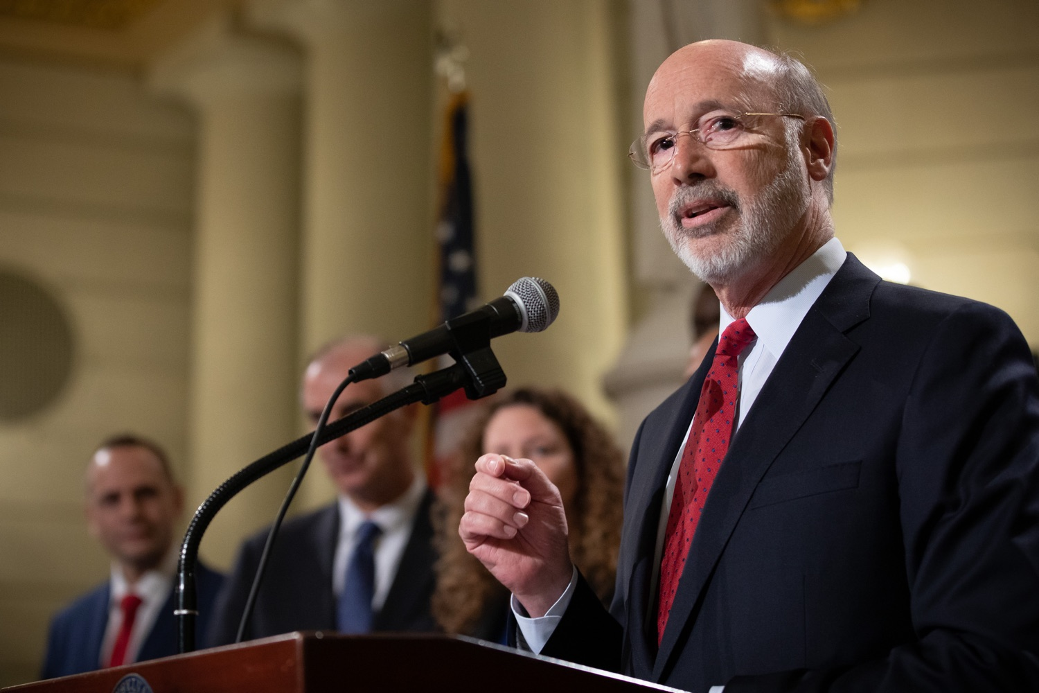 """<a href=""""https://filesource.wostreaming.net/commonwealthofpa/photo/17601_gov_right_on_crime_dz_009.jpg"""" target=""""_blank"""">⇣Download Photo<br></a>Governor Tom Wolf speaking at the event. Governor Tom Wolf was joined by Deputy Secretary of Corrections Christian Stephens and national criminal justice reform advocates today in the Capitol Rotunda to push for commonsense probation reforms that address probation sentences and probation lengths.  Harrisburg, PA  November 18, 2019"""