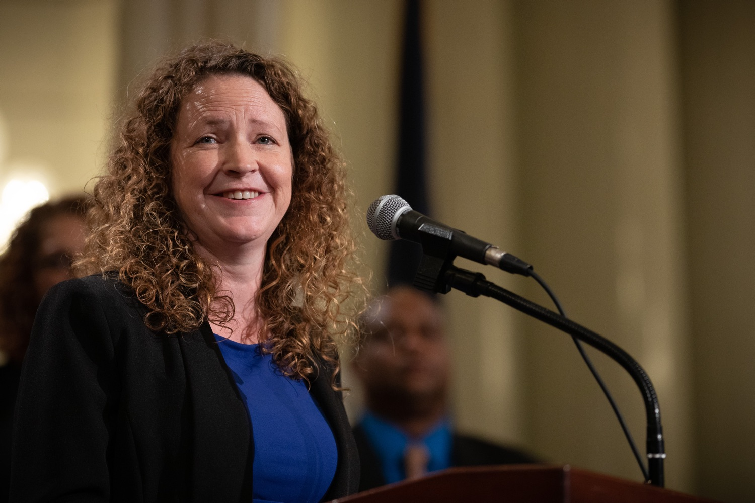 """<a href=""""https://filesource.wostreaming.net/commonwealthofpa/photo/17601_gov_right_on_crime_dz_010.jpg"""" target=""""_blank"""">⇣Download Photo<br></a>Carrie Pettus-Davis speaking at the event. Governor Tom Wolf was joined by Deputy Secretary of Corrections Christian Stephens and national criminal justice reform advocates today in the Capitol Rotunda to push for commonsense probation reforms that address probation sentences and probation lengths.  Harrisburg, PA  November 18, 2019"""