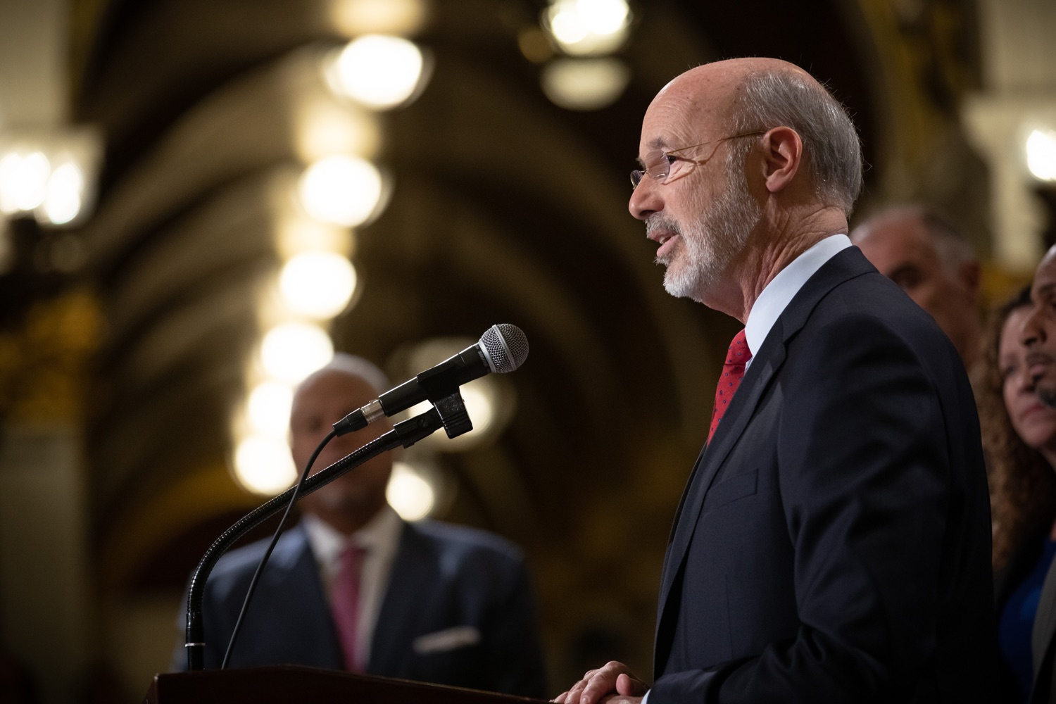 """<a href=""""https://filesource.wostreaming.net/commonwealthofpa/photo/17601_gov_right_on_crime_dz_014.jpg"""" target=""""_blank"""">⇣Download Photo<br></a>Governor Tom Wolf speaking at the event. Governor Tom Wolf was joined by Deputy Secretary of Corrections Christian Stephens and national criminal justice reform advocates today in the Capitol Rotunda to push for commonsense probation reforms that address probation sentences and probation lengths.  Harrisburg, PA  November 18, 2019"""