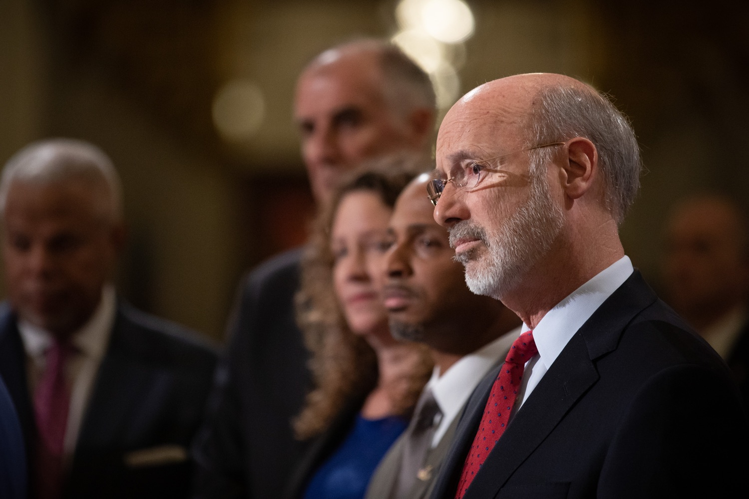 """<a href=""""https://filesource.wostreaming.net/commonwealthofpa/photo/17601_gov_right_on_crime_dz_016.jpg"""" target=""""_blank"""">⇣Download Photo<br></a>Governor Tom Wolf listening to speakers at the event.Governor Tom Wolf was joined by Deputy Secretary of Corrections Christian Stephens and national criminal justice reform advocates today in the Capitol Rotunda to push for commonsense probation reforms that address probation sentences and probation lengths.  Harrisburg, PA  November 18, 2019"""