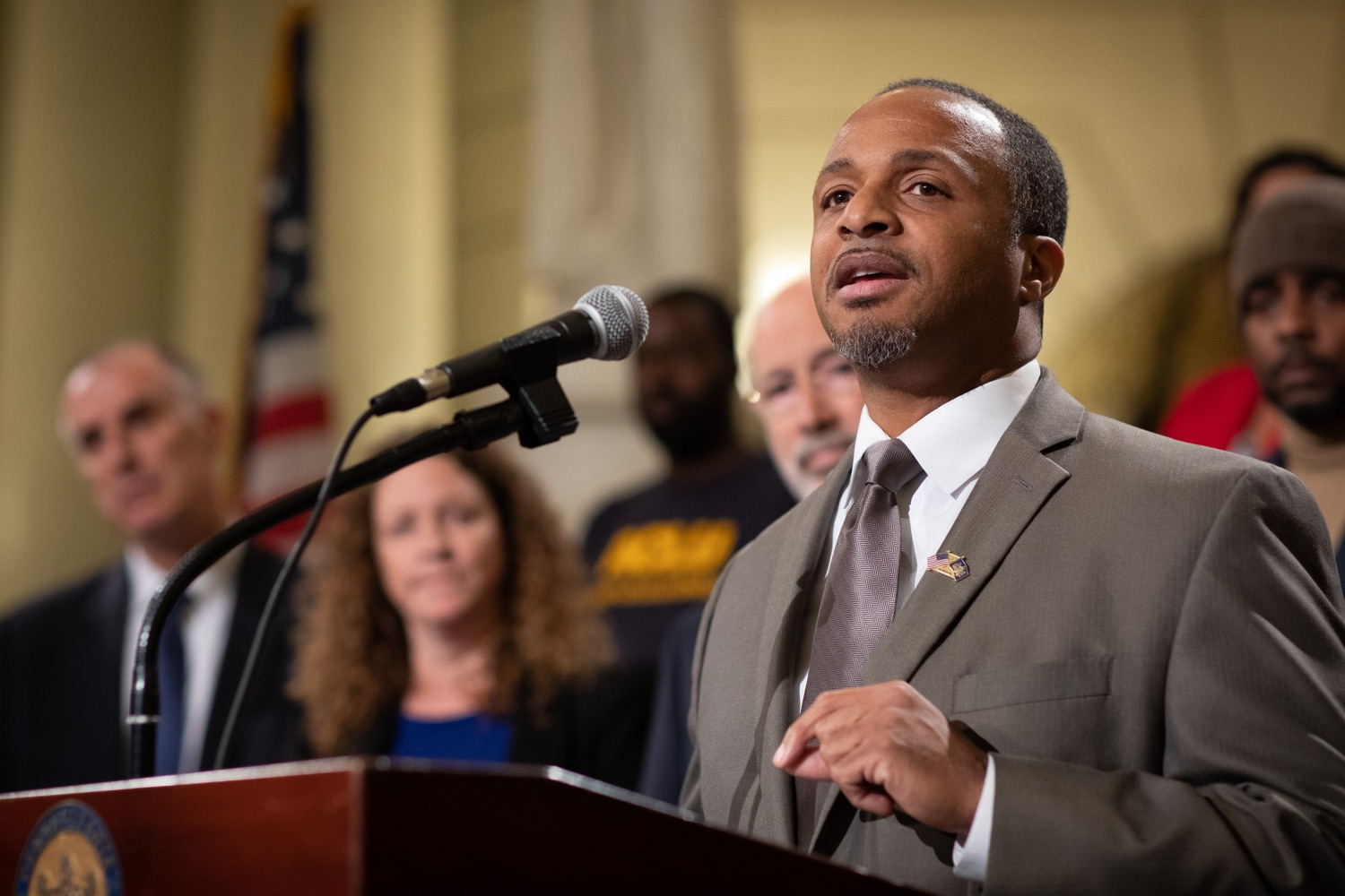 """<a href=""""https://filesource.wostreaming.net/commonwealthofpa/photo/17601_gov_right_on_crime_dz_019.jpg"""" target=""""_blank"""">⇣Download Photo<br></a>Deputy Secretary of Corrections Christian Stephens speaking at the event. Governor Tom Wolf was joined by Deputy Secretary of Corrections Christian Stephens and national criminal justice reform advocates today in the Capitol Rotunda to push for commonsense probation reforms that address probation sentences and probation lengths.  Harrisburg, PA  November 18, 2019"""