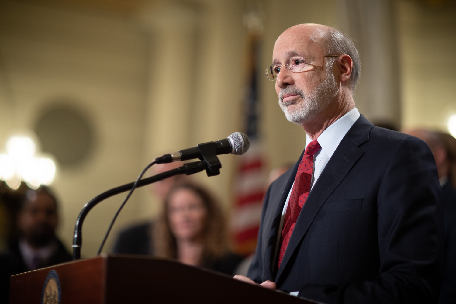"""<a href=""""https://filesource.wostreaming.net/commonwealthofpa/photo/17601_gov_right_on_crime_dz_020.jpg"""" target=""""_blank"""">⇣Download Photo<br></a>Governor Tom Wolf speaking at the event. Governor Tom Wolf was joined by Deputy Secretary of Corrections Christian Stephens and national criminal justice reform advocates today in the Capitol Rotunda to push for commonsense probation reforms that address probation sentences and probation lengths.  Harrisburg, PA  November 18, 2019"""