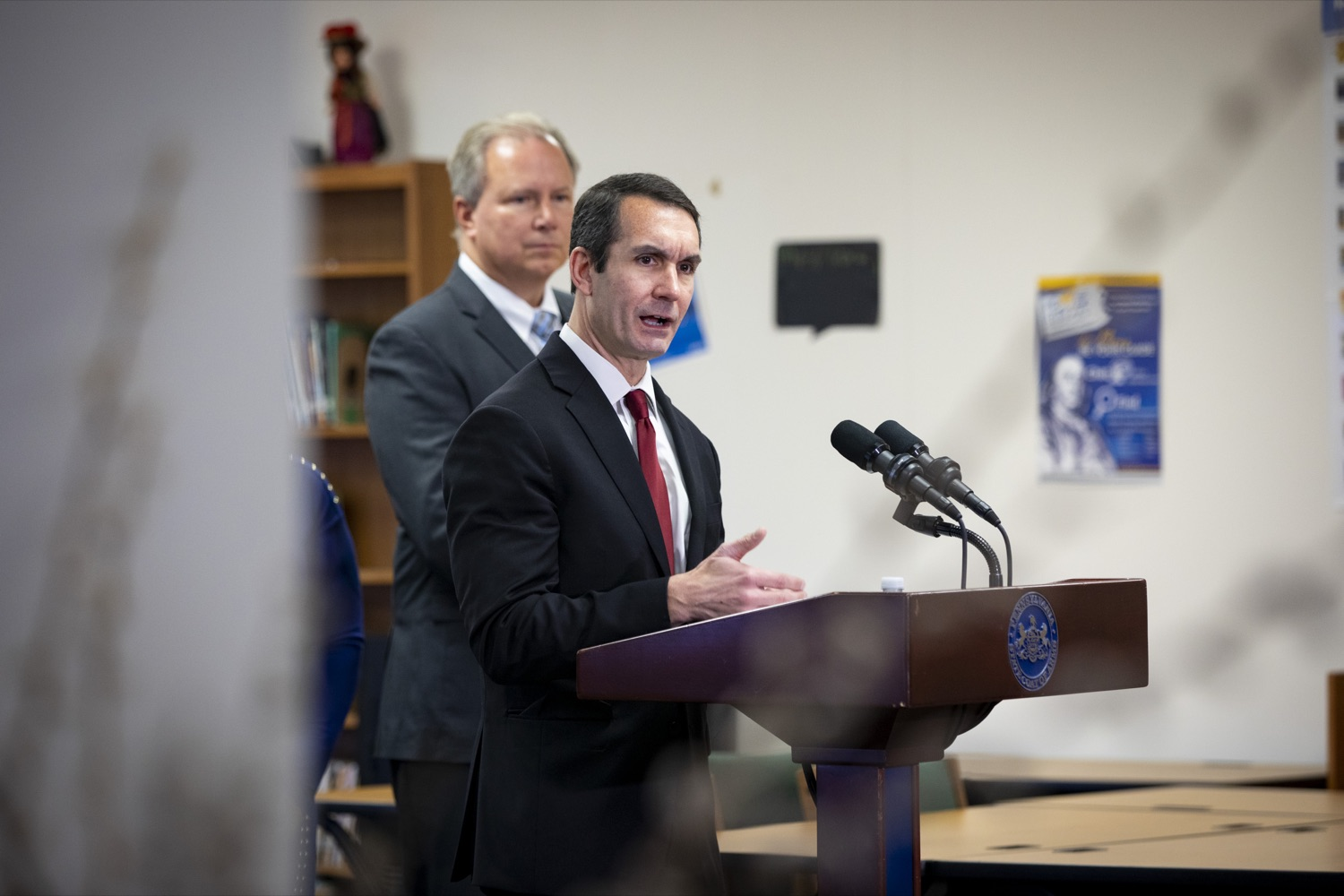 "<a href=""https://filesource.wostreaming.net/commonwealthofpa/photo/17611_AUD_GEN_HBG_AUDIT_UPDATE_CZ_10.JPG"" target=""_blank"">⇣ Download Photo<br></a>Auditor General Eugene DePasquale applauds Harrisburg School Districts financial recovery efforts to improve transparency to taxpayers, at Foose Elementary School in Harrisburg on November 25, 2019."