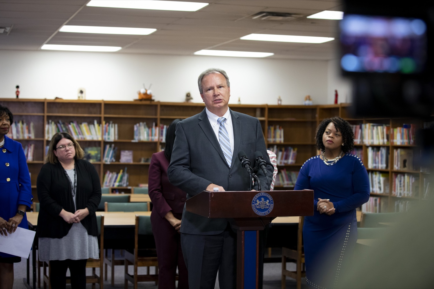 "<a href=""https://filesource.wostreaming.net/commonwealthofpa/photo/17611_AUD_GEN_HBG_AUDIT_UPDATE_CZ_11.JPG"" target=""_blank"">⇣ Download Photo<br></a>Harrisburg School District Financial Recovery Plan Service Director John J. George discusses the potential consequences of a recent legislative proposal, House Bill 1800, at Foose Elementary School in Harrisburg on November 25, 2019."