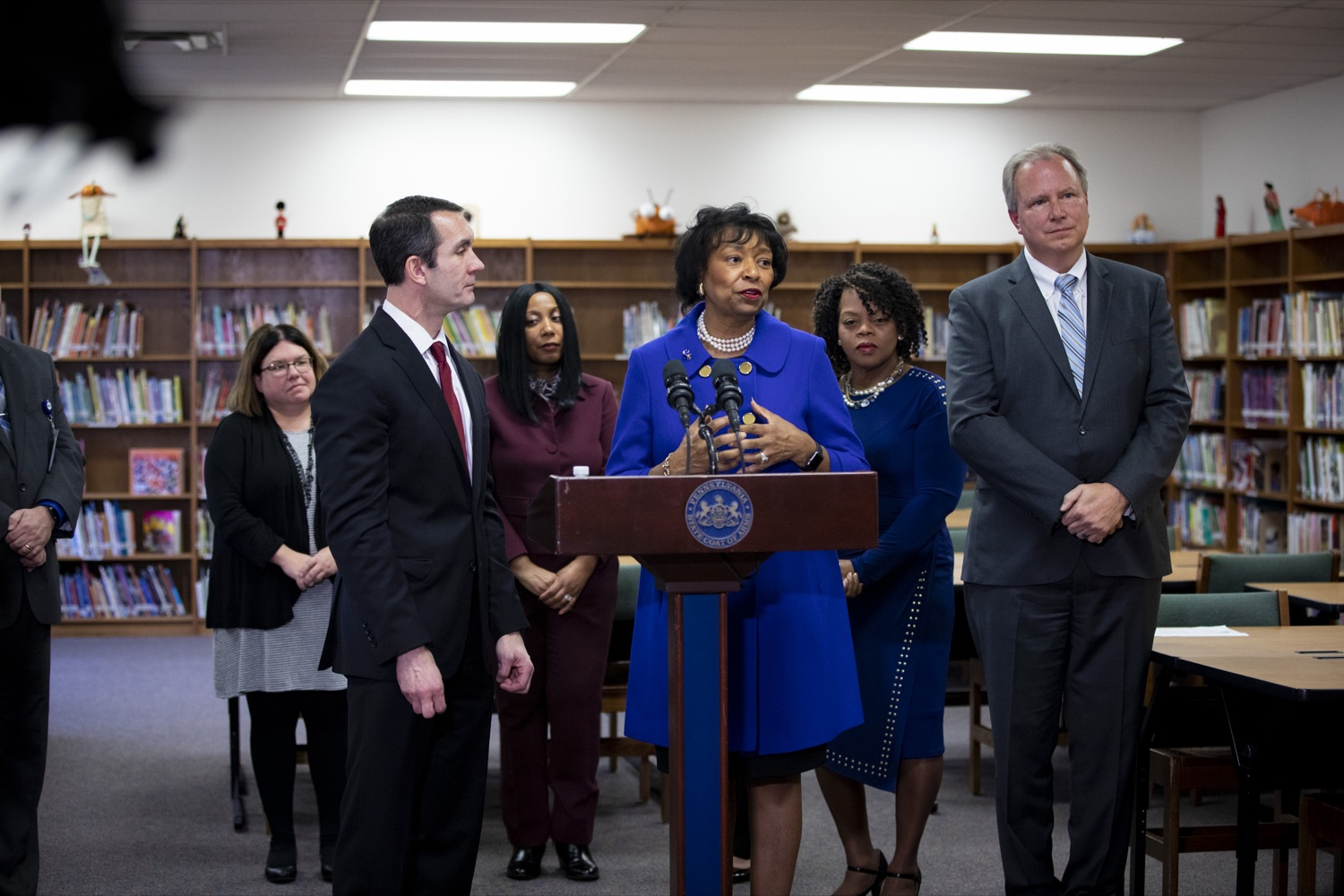"<a href=""https://filesource.wostreaming.net/commonwealthofpa/photo/17611_AUD_GEN_HBG_AUDIT_UPDATE_CZ_13.JPG"" target=""_blank"">⇣ Download Photo<br></a>Harrisburg School District Receiver Janet C. Samuels affirms the district's commitment for continued improvement, at Foose Elementary School in Harrisburg on November 25, 2019."