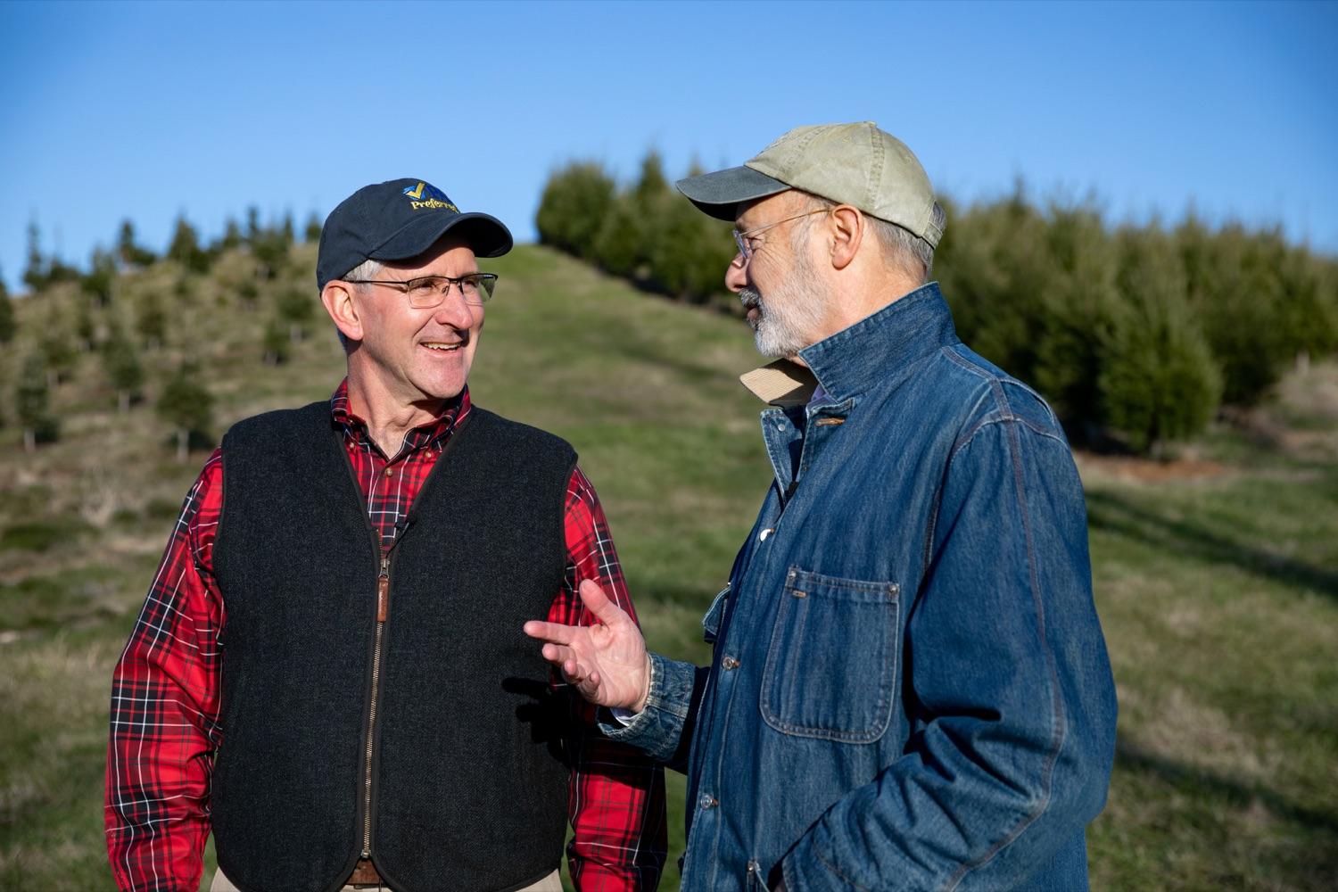 """<a href=""""https://filesource.wostreaming.net/commonwealthofpa/photo/17615_GOV_AGRIC_Christmas_Trees_NK_004.JPG"""" target=""""_blank"""">⇣Download Photo<br></a>Pennsylvania Governor Tom Wolf, right, Pennsylvania Agriculture Secretary Russell Redding talk together on Monday, November 25, 2019."""