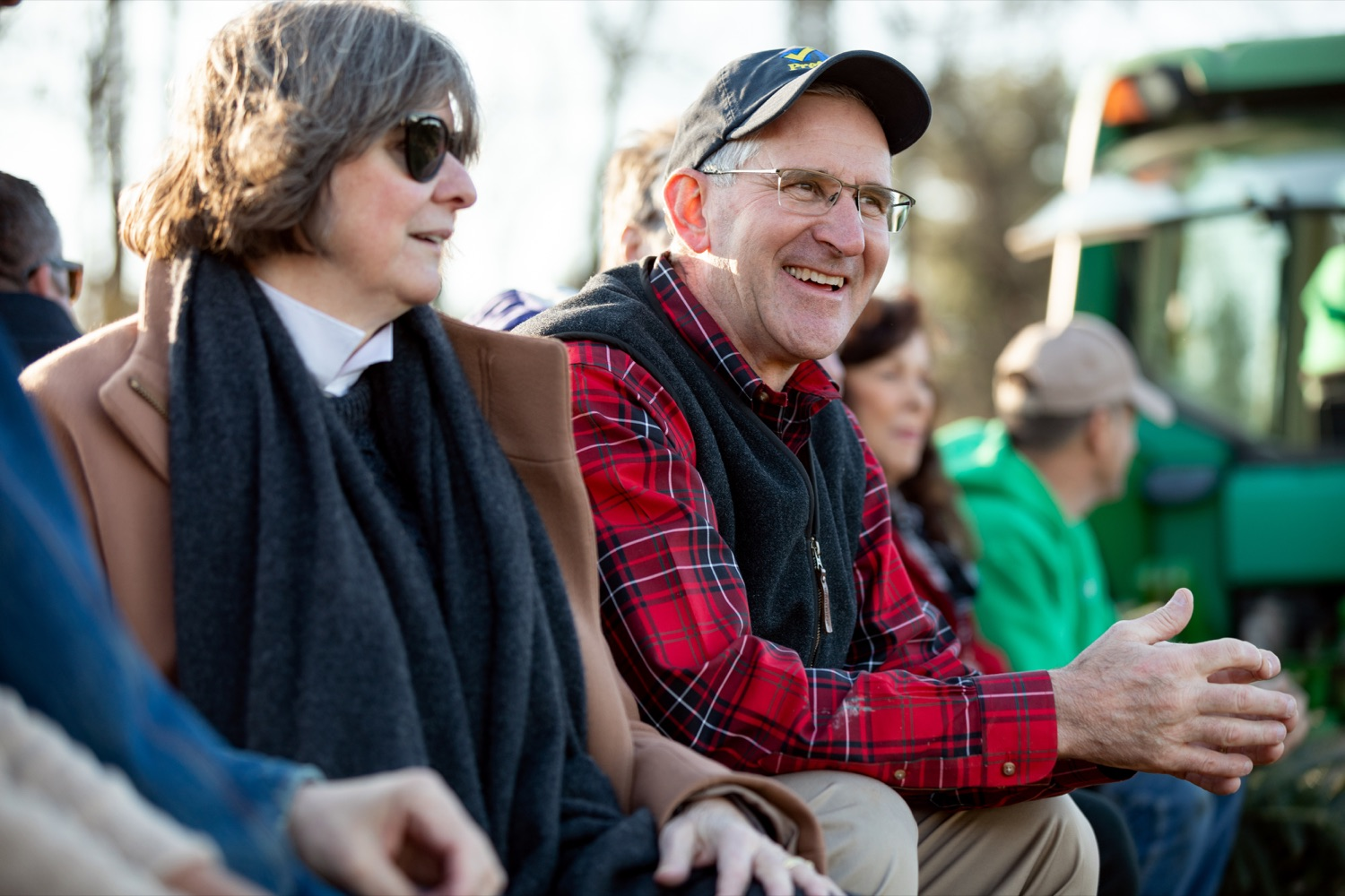 """<a href=""""https://filesource.wostreaming.net/commonwealthofpa/photo/17615_GOV_AGRIC_Christmas_Trees_NK_005.JPG"""" target=""""_blank"""">⇣Download Photo<br></a>Pennsylvania Agriculture Secretary Russell Redding smiles next to Pennsylvania's First Lady Frances Wolf on Monday, November 25, 2019."""