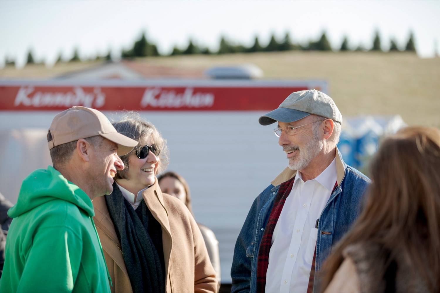 """<a href=""""https://filesource.wostreaming.net/commonwealthofpa/photo/17615_GOV_AGRIC_Christmas_Trees_NK_014.JPG"""" target=""""_blank"""">⇣Download Photo<br></a>Pennsylvania Governor Tom Wolf and his wife, Frances, talk with Mark McCurdy, owner of McCurdy's Tree Farm & Landscaping, on Monday, November 25, 2019."""