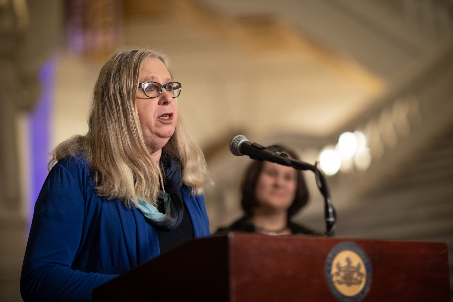 "<a href=""https://filesource.wostreaming.net/commonwealthofpa/photo/17627_ddap_mental_health_dz_011.JPG"" target=""_blank"">⇣ Download Photo<br></a>Secretary of Health Dr. Rachel Levine Speaking in the Capitol Rotunda.  Today, members of the Wolf Administration spoke in the state Capitol Rotunda to share resources and advice for individuals and families affected by mental health and substance use disorders (SUD) during the holiday season. Harrisburg, PA   December 20, 2019"