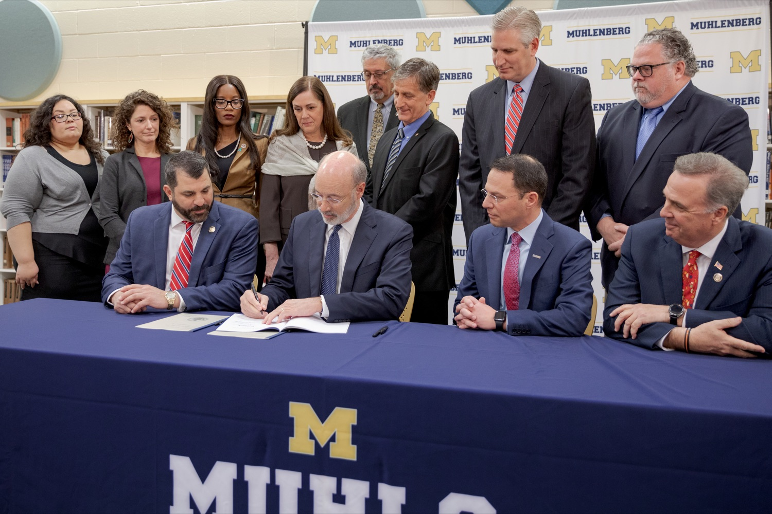 """<a href=""""https://filesource.wostreaming.net/commonwealthofpa/photo/17628_GOV_AG_Bill_Signing_NK_006.JPG"""" target=""""_blank"""">⇣Download Photo<br></a>From left; State Rep. Mark Rozzi, Governor Tom Wolf, Attorney General Josh Shapiro, and State Rep. Jim Gregory sign a package of three bills, which mirror three of the Grand Jurys recommendations on addressing the statute of limitations for victims of child sexual abuse, inside Muhlenberg High School on Tuesday, November 26, 2019."""
