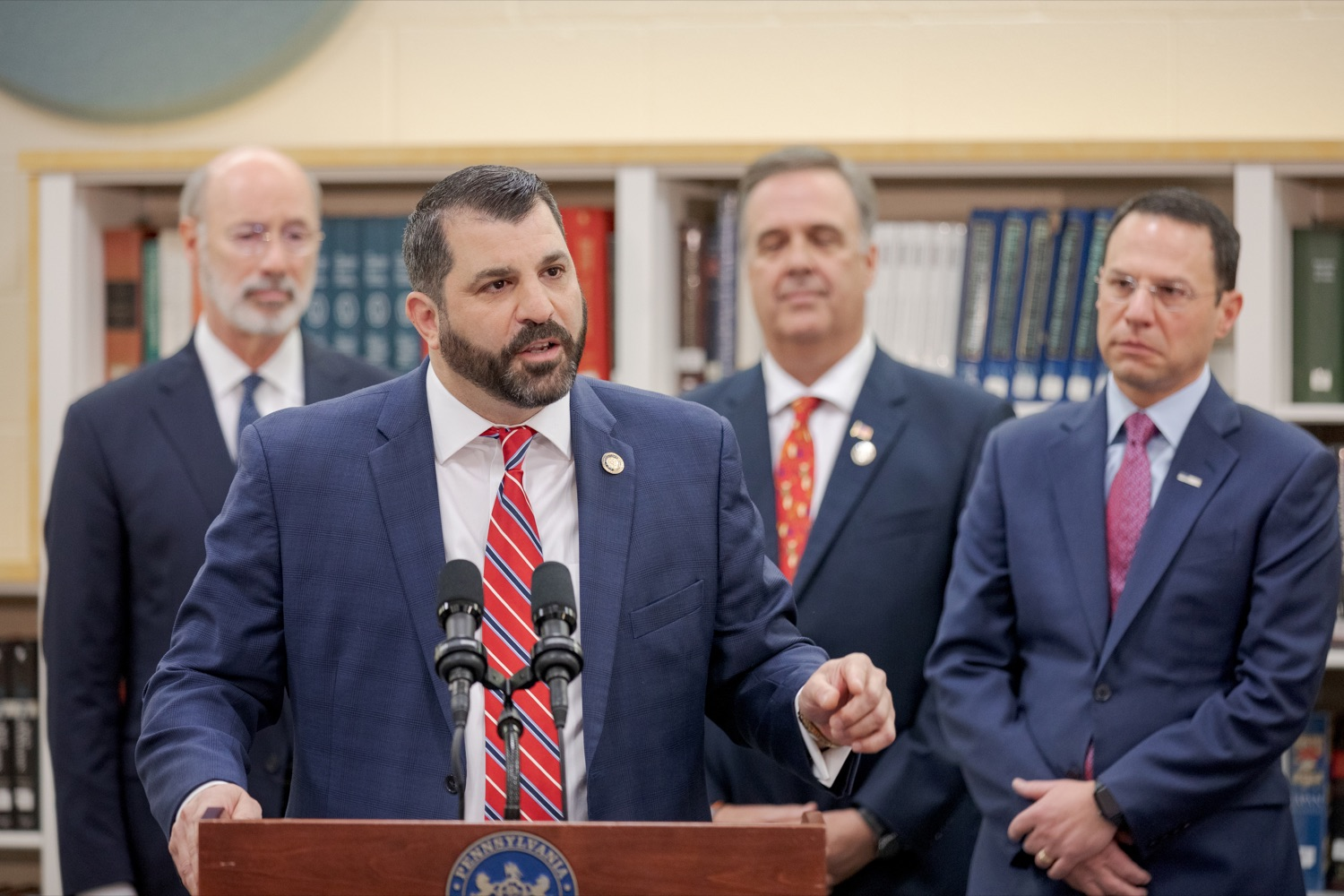 """<a href=""""https://filesource.wostreaming.net/commonwealthofpa/photo/17628_GOV_AG_Bill_Signing_NK_008.JPG"""" target=""""_blank"""">⇣Download Photo<br></a>State Rep. Mark Rozzi, a survivor of childhood sexual abuse, speaks before signing a package of three bills, which mirror three of the Grand Jurys recommendations on addressing the statute of limitations for victims of child sexual abuse, inside Muhlenberg High School on Tuesday, November 26, 2019. i"""