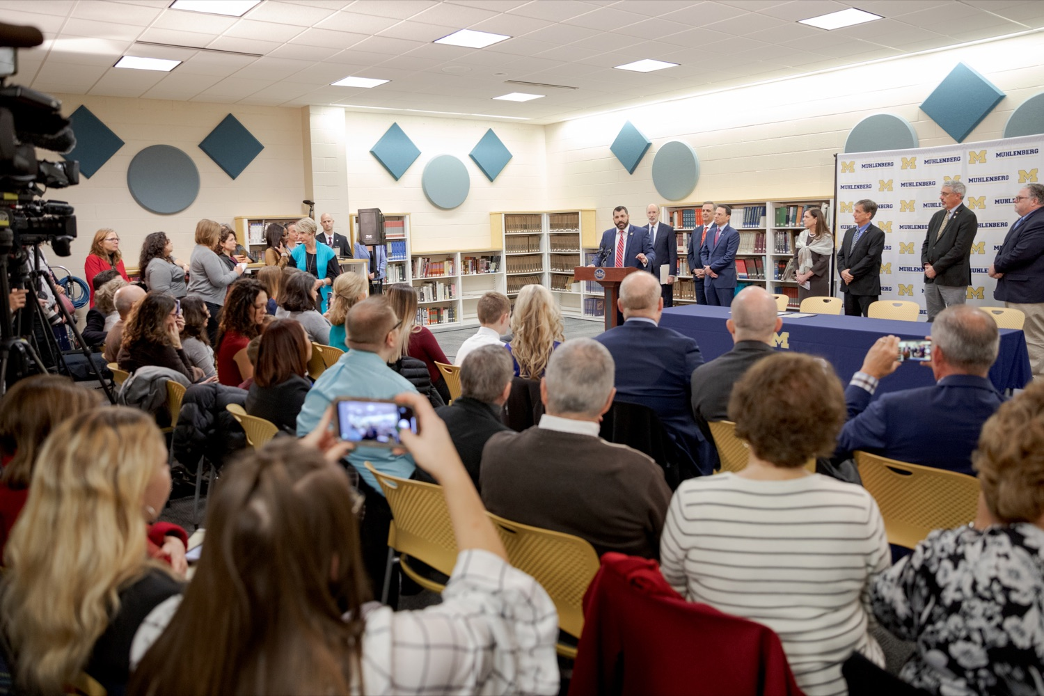 """<a href=""""https://filesource.wostreaming.net/commonwealthofpa/photo/17628_GOV_AG_Bill_Signing_NK_015.JPG"""" target=""""_blank"""">⇣Download Photo<br></a>State Rep. Mark Rozzi, a survivor of childhood sexual abuse, speaks before signing a package of three bills, which mirror three of the Grand Jurys recommendations on addressing the statute of limitations for victims of child sexual abuse, inside Muhlenberg High School on Tuesday, November 26, 2019. i"""