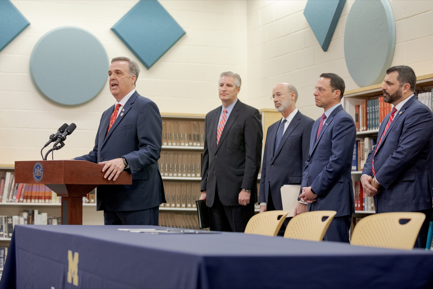 """<a href=""""https://filesource.wostreaming.net/commonwealthofpa/photo/17628_GOV_AG_Bill_Signing_NK_019.JPG"""" target=""""_blank"""">⇣Download Photo<br></a>State Rep. Jim Gregory speaks before signing a package of three bills, which mirror three of the Grand Jurys recommendations on addressing the statute of limitations for victims of child sexual abuse, inside Muhlenberg High School on Tuesday, November 26, 2019."""