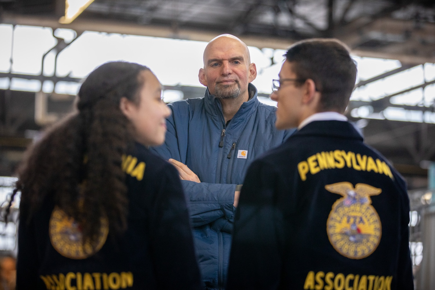 "<a href=""https://filesource.wostreaming.net/commonwealthofpa/photo/17646_agric_butter_sculpture_dz_013.jpg"" target=""_blank"">⇣ Download Photo<br></a>Lt. Governor John Fetterman speaking to Pennsylvania FFA members.  Lt. Governor John Fetterman and Secretary of Agriculture Russell Redding today unveiled the 2020 Pennsylvania Farm Show butter sculpture, carved from a half-ton of butter depicting three of Pennsylvanias beloved professional sports mascots: Philadelphia Flyers Gritty, Philadelphia Eagles Swoop, and Pittsburgh Steelers Steely McBeam celebrating with a spread of Pennsylvania dairy products. The sculpture, a long-time Farm Show staple, encourages Pennsylvanians to be a fan of Pennsylvania dairy and give a cheer to the more than 6,200 dairy farmers in the commonwealth.  Harrisburg, PA  January 2, 2020"