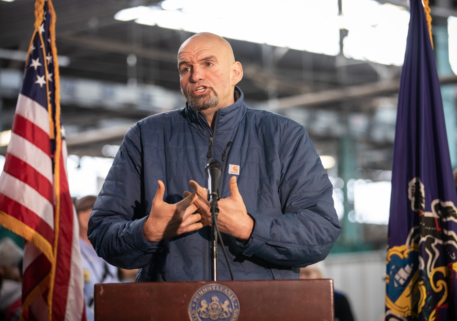 "<a href=""https://filesource.wostreaming.net/commonwealthofpa/photo/17646_agric_butter_sculpture_dz_016.jpg"" target=""_blank"">⇣ Download Photo<br></a>Lt. Governor John Fetterman speaking at the Pennsylvania Farm Show butter sculpture unveiling.Lt. Governor John Fetterman and Secretary of Agriculture Russell Redding today unveiled the 2020 Pennsylvania Farm Show butter sculpture, carved from a half-ton of butter depicting three of Pennsylvanias beloved professional sports mascots: Philadelphia Flyers Gritty, Philadelphia Eagles Swoop, and Pittsburgh Steelers Steely McBeam celebrating with a spread of Pennsylvania dairy products. The sculpture, a long-time Farm Show staple, encourages Pennsylvanians to be a fan of Pennsylvania dairy and give a cheer to the more than 6,200 dairy farmers in the commonwealth.  Harrisburg, PA  January 2, 2020"
