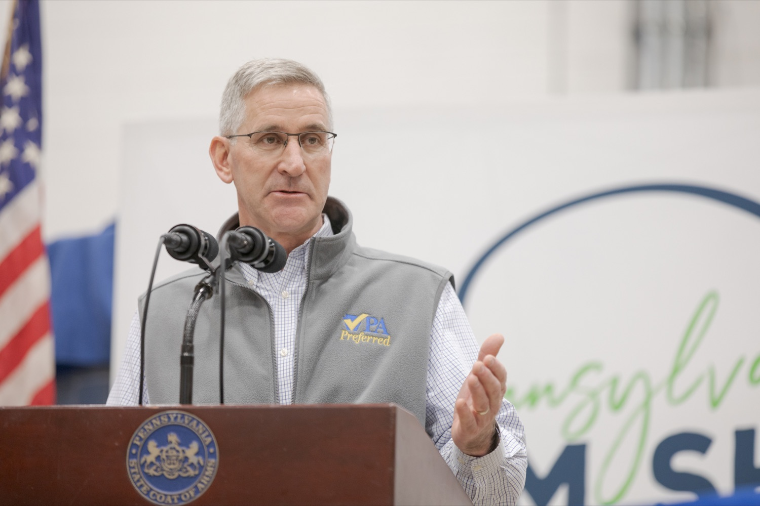 "<a href=""https://filesource.wostreaming.net/commonwealthofpa/photo/17648_AGRIC_Opening_Ceremonies_NK_005.JPG"" target=""_blank"">⇣ Download Photo<br></a>Pennsylvania Department of Agriculture Secretary Russell Redding speaks during the kick-off of the 2020 Pennsylvania Farm Show on Saturday, January 4, 2020."