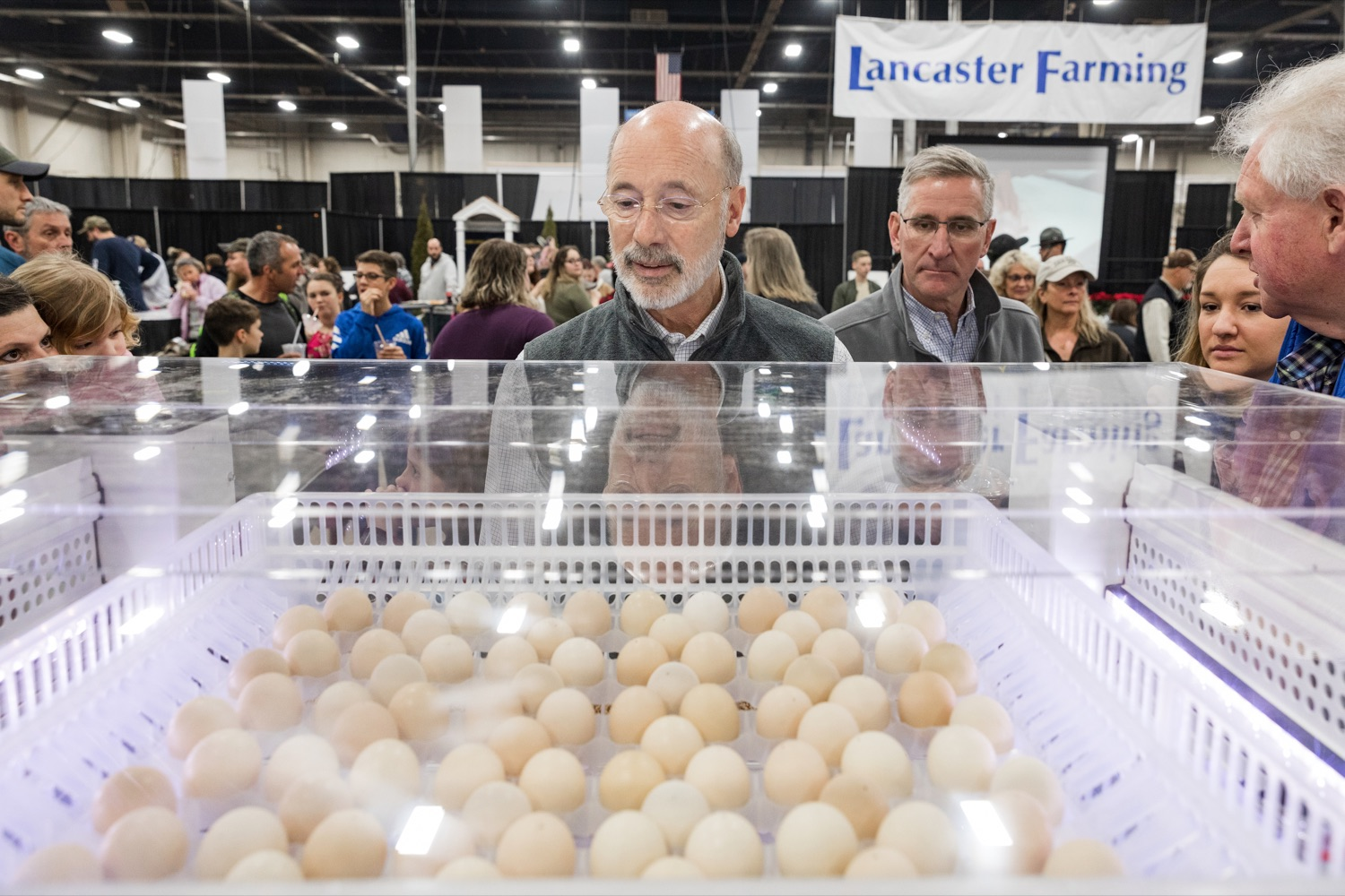 "<a href=""https://filesource.wostreaming.net/commonwealthofpa/photo/17648_AGRIC_Opening_Ceremonies_NK_007.JPG"" target=""_blank"">⇣ Download Photo<br></a>Pennsylvania Governor Tom Wolf and Pennsylvania Secretary of Agriculture Russell Redding look at chicken eggs during the kick-off of the 2020 Pennsylvania Farm Show on Saturday, January 4, 2020."