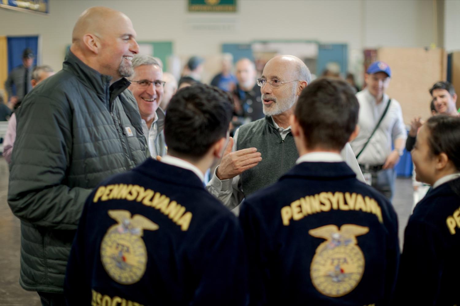 "<a href=""https://filesource.wostreaming.net/commonwealthofpa/photo/17648_AGRIC_Opening_Ceremonies_NK_008.JPG"" target=""_blank"">⇣ Download Photo<br></a>Lt. Governor John Fetterman, left, Secretary of Agriculture Russell Redding, center, and Pennsylvania Governor Tom Wolf, laughs together during the kick-off of the 2020 Pennsylvania Farm Show on Saturday, January 4, 2020."