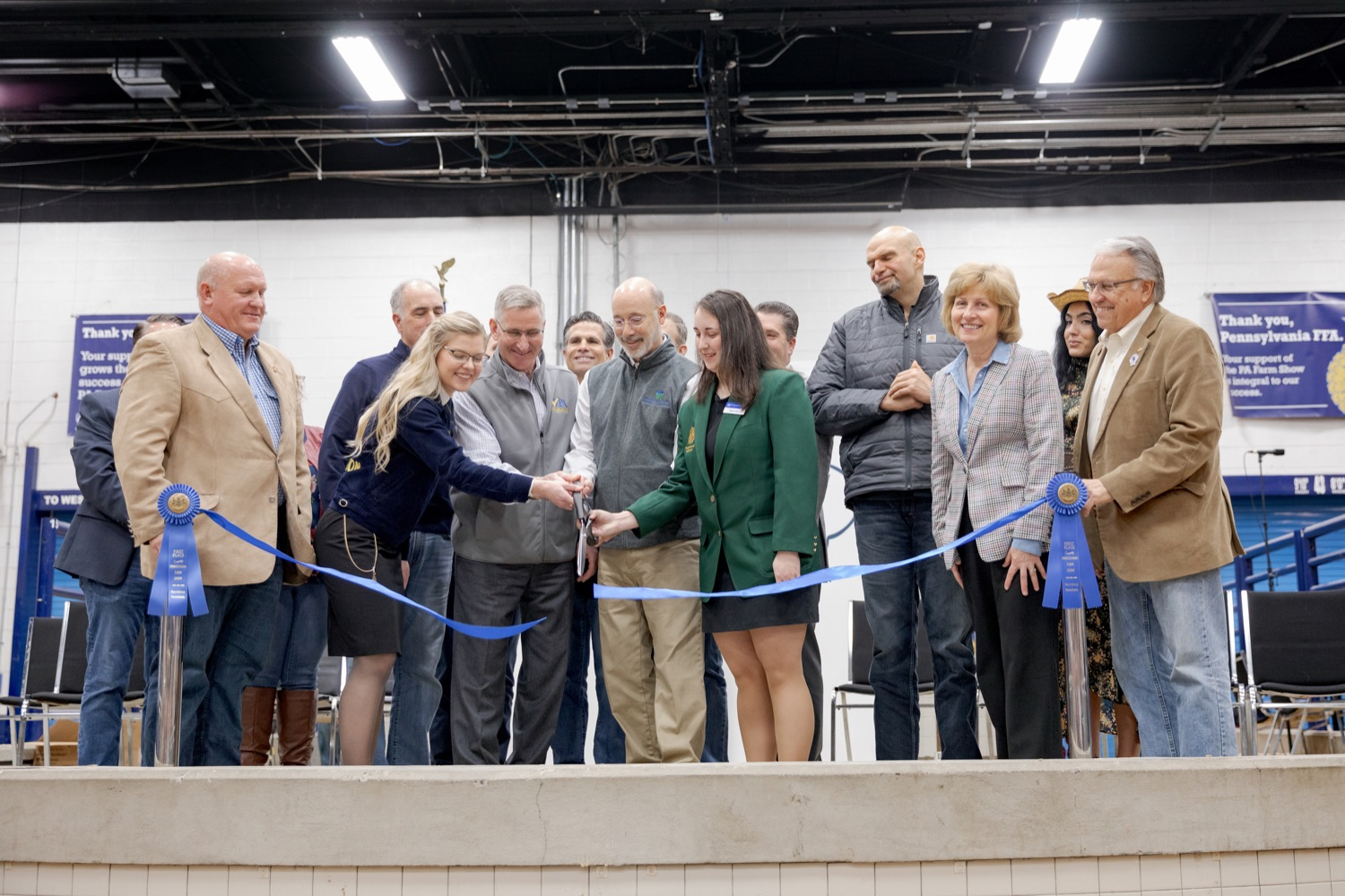 "<a href=""https://filesource.wostreaming.net/commonwealthofpa/photo/17648_AGRIC_Opening_Ceremonies_NK_013.JPG"" target=""_blank"">⇣ Download Photo<br></a>Pennsylvania Governor Wolf, with help from others, cuts the ribbon during the kick-off of the 2020 Pennsylvania Farm Show on Saturday, January 4, 2020."