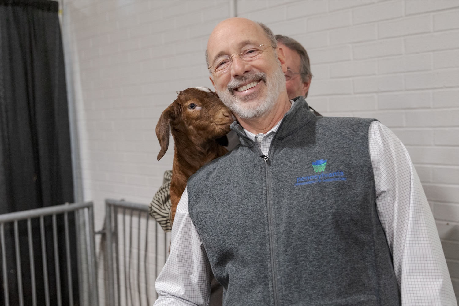 "<a href=""https://filesource.wostreaming.net/commonwealthofpa/photo/17648_AGRIC_Opening_Ceremonies_NK_015.JPG"" target=""_blank"">⇣ Download Photo<br></a>Pennsylvania Governor Tom Wolf poses for a picture with a goat during the kick-off of the 2020 Pennsylvania Farm Show on Saturday, January 4, 2020."