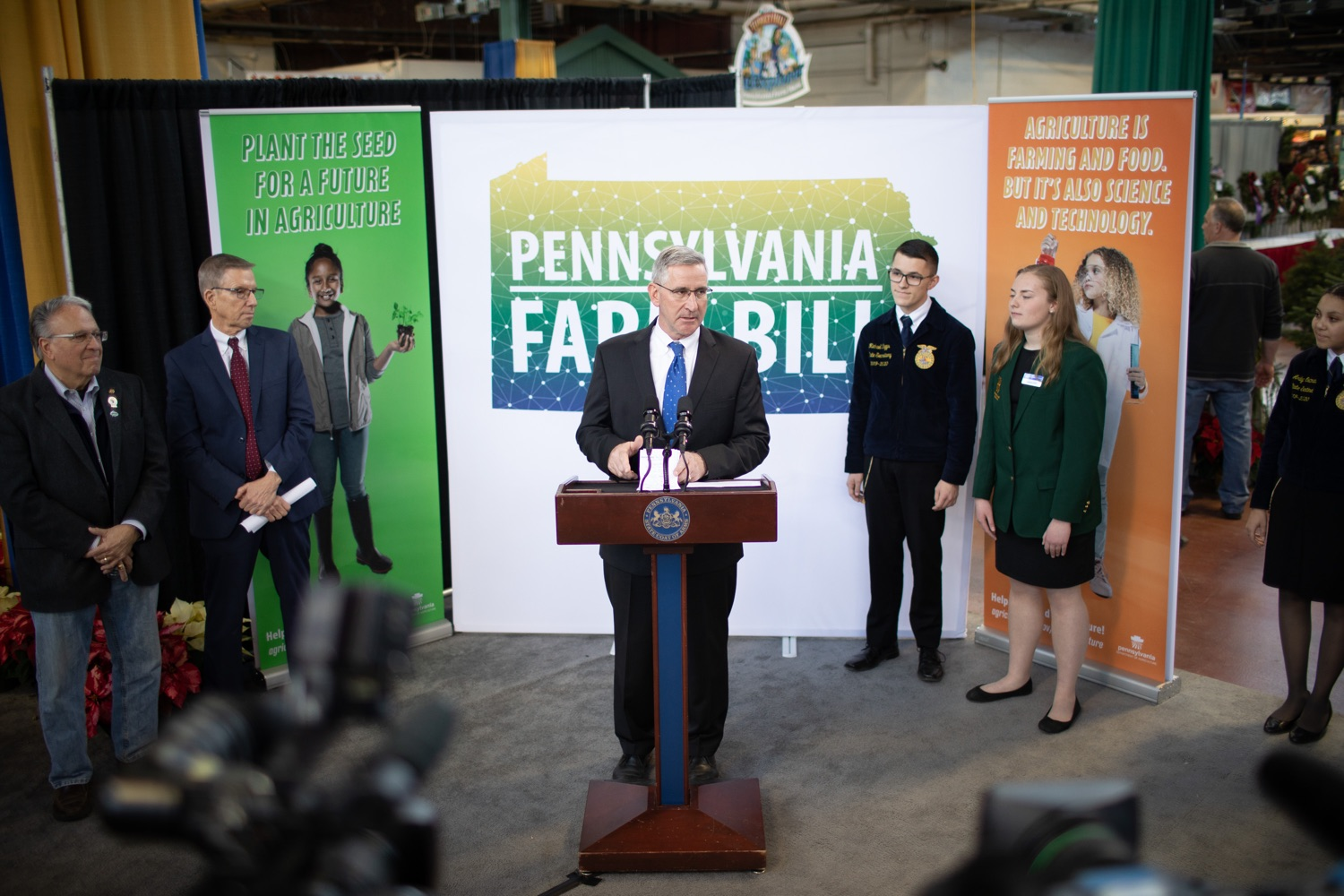 "<a href=""https://filesource.wostreaming.net/commonwealthofpa/photo/17649_agric_youth_grant_farm_bill_dz_002.jpg"" target=""_blank"">⇣ Download Photo<br></a>Agriculture Secretary Russell Redding speaking at the announcement. Governor Tom Wolf today announced the approval of $500,000 in Ag and Youth Grants to fund 55 projects that will improve access to agriculture education in the commonwealth, with a goal of addressing the looming 75,000 workforce deficit Pennsylvanias agriculture industry faces in the coming decade. Harrisburg, PA  January 6, 2020"