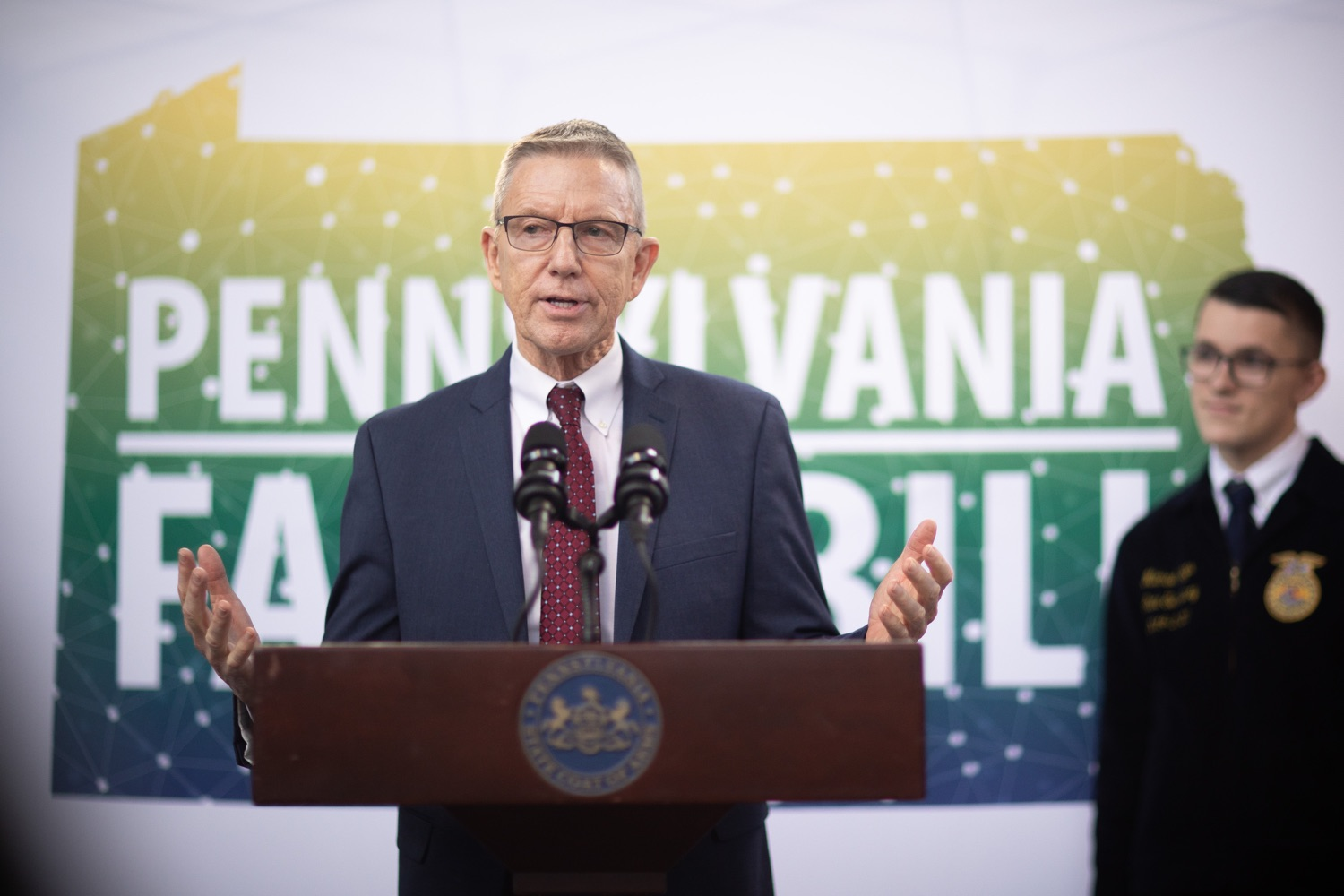 """<a href=""""https://filesource.wostreaming.net/commonwealthofpa/photo/17649_agric_youth_grant_farm_bill_dz_005.jpg"""" target=""""_blank"""">⇣Download Photo<br></a>Education Executive Deputy David Volkman speaking at the announcement. Governor Tom Wolf today announced the approval of $500,000 in Ag and Youth Grants to fund 55 projects that will improve access to agriculture education in the commonwealth, with a goal of addressing the looming 75,000 workforce deficit Pennsylvanias agriculture industry faces in the coming decade. Harrisburg, PA  January 6, 2020"""