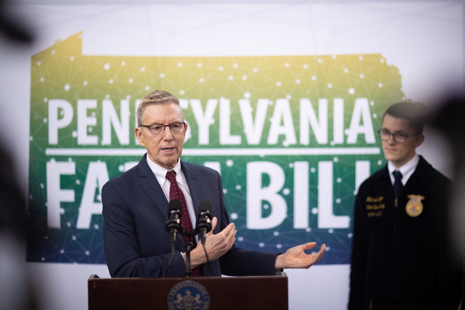 "<a href=""https://filesource.wostreaming.net/commonwealthofpa/photo/17649_agric_youth_grant_farm_bill_dz_012.jpg"" target=""_blank"">⇣ Download Photo<br></a>Education Executive Deputy David Volkman speaking at the announcement. Governor Tom Wolf today announced the approval of $500,000 in Ag and Youth Grants to fund 55 projects that will improve access to agriculture education in the commonwealth, with a goal of addressing the looming 75,000 workforce deficit Pennsylvanias agriculture industry faces in the coming decade. Harrisburg, PA  January 6, 2020"
