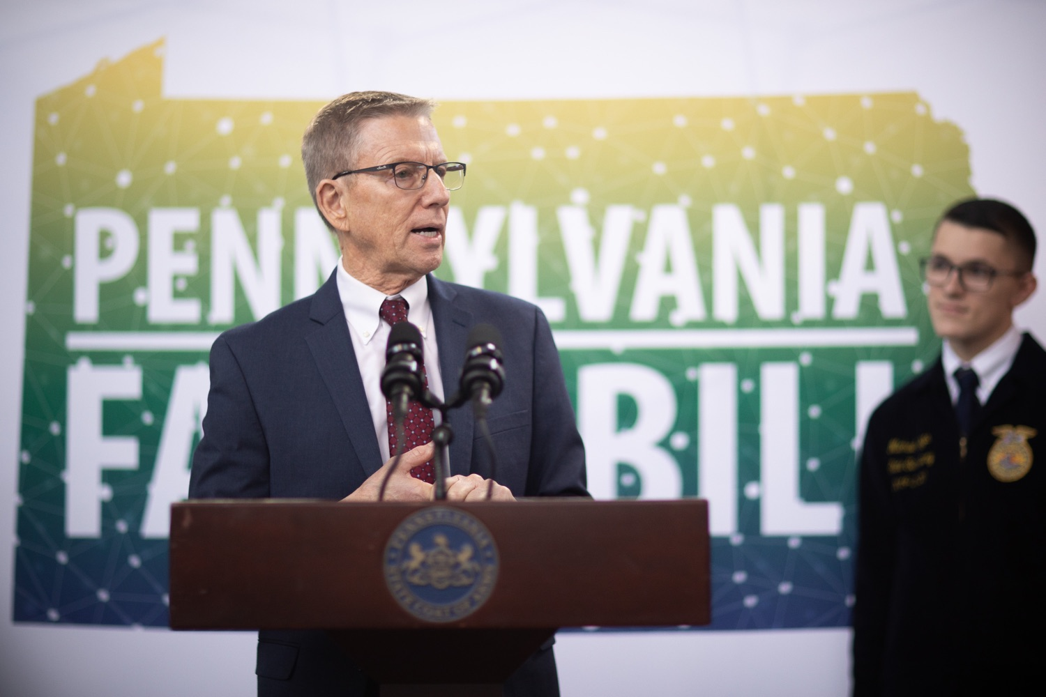 "<a href=""https://filesource.wostreaming.net/commonwealthofpa/photo/17649_agric_youth_grant_farm_bill_dz_020.jpg"" target=""_blank"">⇣ Download Photo<br></a>Education Executive Deputy David Volkman speaking at the announcement. Governor Tom Wolf today announced the approval of $500,000 in Ag and Youth Grants to fund 55 projects that will improve access to agriculture education in the commonwealth, with a goal of addressing the looming 75,000 workforce deficit Pennsylvanias agriculture industry faces in the coming decade. Harrisburg, PA  January 6, 2020"