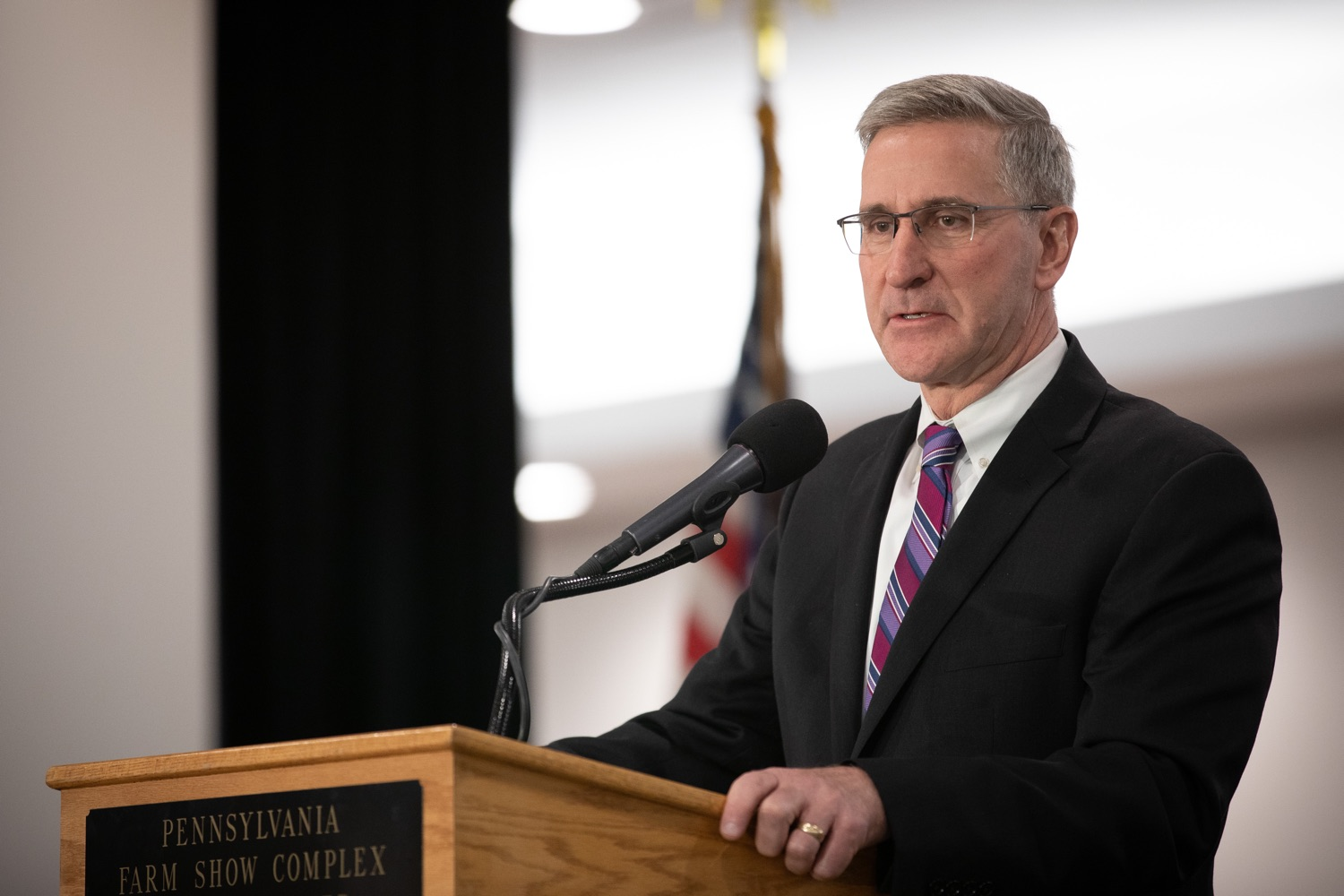 """<a href=""""https://filesource.wostreaming.net/commonwealthofpa/photo/17650_agric_public_officials_day_dz_001.jpg"""" target=""""_blank"""">⇣Download Photo<br></a>Agriculture Secretary Russell Redding speaks at Public Officials Day.  Addressing nearly 800 public officials at the Pennsylvania Farm Show today, Agriculture Secretary Russell Redding announced the opening of the last grant program made possible by the 2019 PA Farm Bill. The $1 million Farm Vitality Grant Program aims to enhance the long-term health and vitality of Pennsylvanias family farms. Harrisburg, PA  January 08, 2020"""