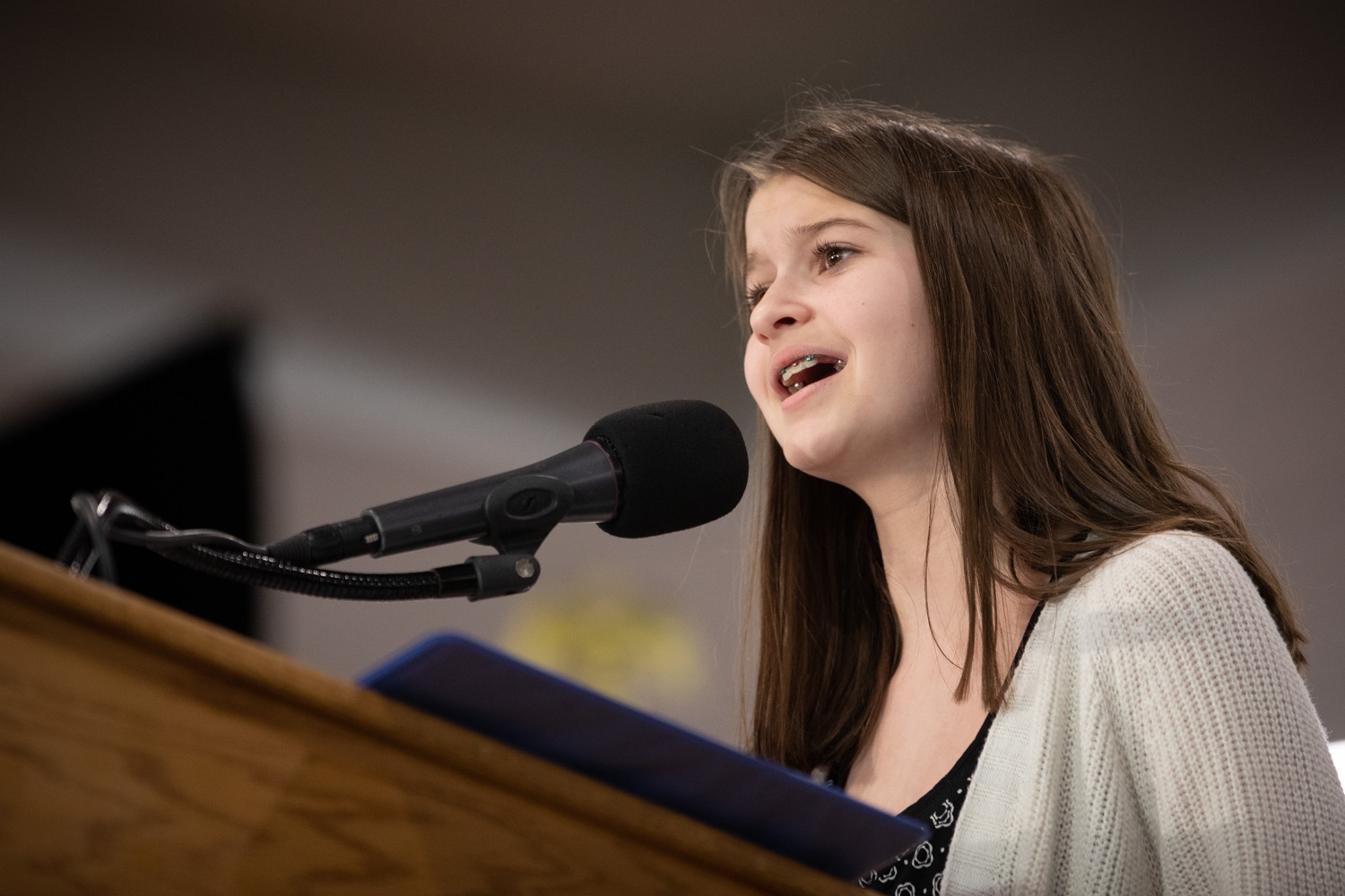 """<a href=""""https://filesource.wostreaming.net/commonwealthofpa/photo/17650_agric_public_officials_day_dz_005.jpg"""" target=""""_blank"""">⇣Download Photo<br></a>Elissa Errett of Warren County singing the National Anthem at Public Officials Day.  Addressing nearly 800 public officials at the Pennsylvania Farm Show today, Agriculture Secretary Russell Redding announced the opening of the last grant program made possible by the 2019 PA Farm Bill. The $1 million Farm Vitality Grant Program aims to enhance the long-term health and vitality of Pennsylvanias family farms. Harrisburg, PA  January 08, 2020"""