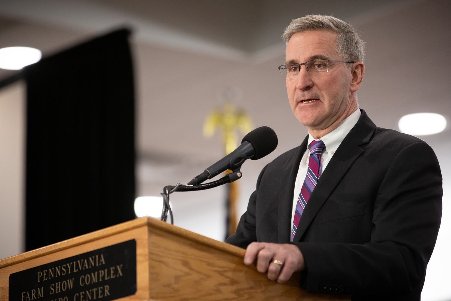 """<a href=""""https://filesource.wostreaming.net/commonwealthofpa/photo/17650_agric_public_officials_day_dz_009.jpg"""" target=""""_blank"""">⇣Download Photo<br></a>Agriculture Secretary Russell Redding speaks at Public Officials Day.  Addressing nearly 800 public officials at the Pennsylvania Farm Show today, Agriculture Secretary Russell Redding announced the opening of the last grant program made possible by the 2019 PA Farm Bill. The $1 million Farm Vitality Grant Program aims to enhance the long-term health and vitality of Pennsylvanias family farms. Harrisburg, PA  January 08, 2020"""