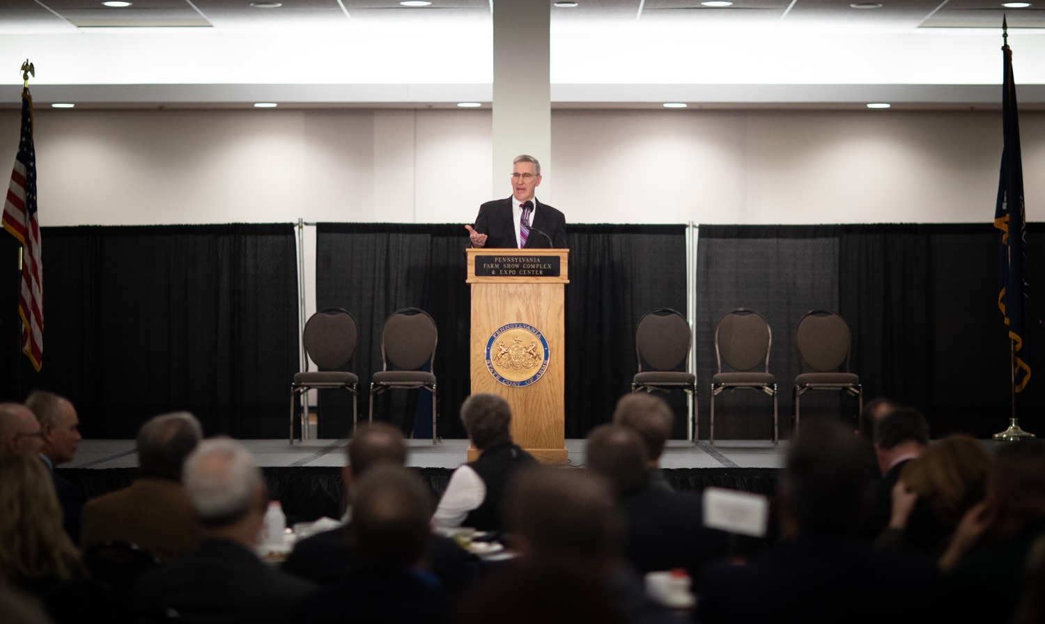 "<a href=""https://filesource.wostreaming.net/commonwealthofpa/photo/17650_agric_public_officials_day_dz_018.jpg"" target=""_blank"">⇣ Download Photo<br></a>Agriculture Secretary Russell Redding speaks at Public Officials Day.  Addressing nearly 800 public officials at the Pennsylvania Farm Show today, Agriculture Secretary Russell Redding announced the opening of the last grant program made possible by the 2019 PA Farm Bill. The $1 million Farm Vitality Grant Program aims to enhance the long-term health and vitality of Pennsylvanias family farms. Harrisburg, PA  January 08, 2020"