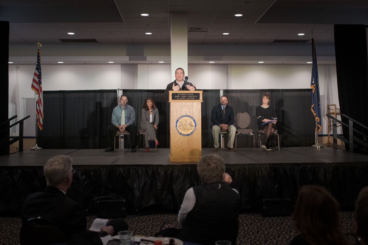 """<a href=""""https://filesource.wostreaming.net/commonwealthofpa/photo/17650_agric_public_officials_day_dz_020.jpg"""" target=""""_blank"""">⇣Download Photo<br></a>Inspiring Innovator Jason Frye of Pleasant Lane Farms speaks at Public Officials Day.  Addressing nearly 800 public officials at the Pennsylvania Farm Show today, Agriculture Secretary Russell Redding announced the opening of the last grant program made possible by the 2019 PA Farm Bill. The $1 million Farm Vitality Grant Program aims to enhance the long-term health and vitality of Pennsylvanias family farms. Harrisburg, PA  January 08, 2020"""