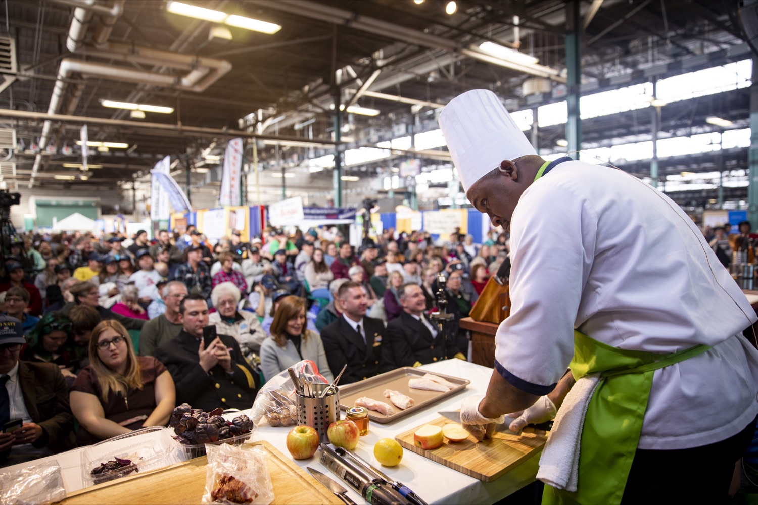 "<a href=""https://filesource.wostreaming.net/commonwealthofpa/photo/17651_AGRIC_ARMY_NAVY_COOKOFF_CZ_06.jpg"" target=""_blank"">⇣ Download Photo<br></a>Culinary Specialist First Class Marlon ONeil Haughton prepares secret ingredients, including Pennsylvania apples, at the 2020 Army vs. Navy Cook-Off in Harrisburg on January 9, 2020."