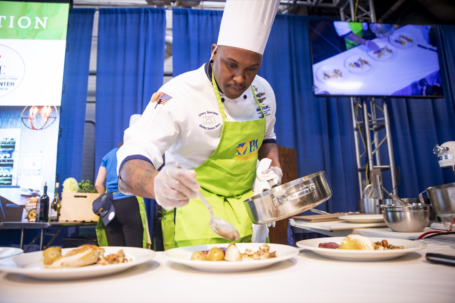 "<a href=""https://filesource.wostreaming.net/commonwealthofpa/photo/17651_AGRIC_ARMY_NAVY_COOKOFF_CZ_12.jpg"" target=""_blank"">⇣ Download Photo<br></a>Culinary Specialist First Class Marlon ONeil Haughton plates his winning dish at the 2020 Army vs. Navy Cook-Off in Harrisburg on January 9, 2020."