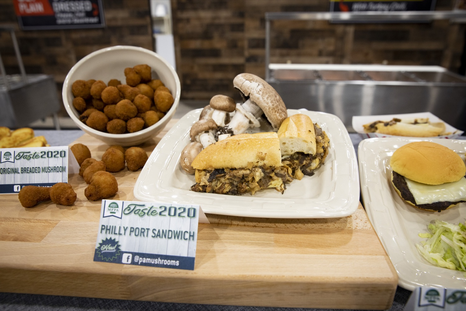 "<a href=""https://filesource.wostreaming.net/commonwealthofpa/photo/17658_FARM_SHOW_FIRST_TASTE_CZ_05.JPG"" target=""_blank"">⇣ Download Photo<br></a>The Mushroom Farmers of Pennsylvania introduce their Philly port sandwich at the Pennsylvania Farm Show Food Court in Harrisburg on January 2, 2020."