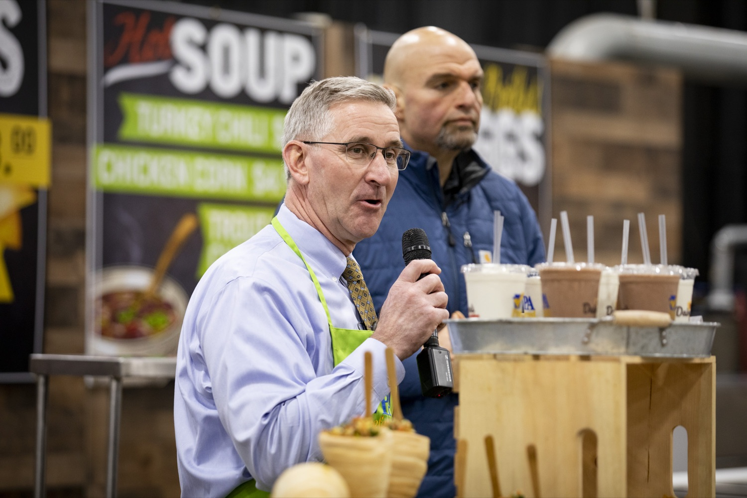 "<a href=""https://filesource.wostreaming.net/commonwealthofpa/photo/17658_FARM_SHOW_FIRST_TASTE_CZ_10.JPG"" target=""_blank"">⇣ Download Photo<br></a>Secretary of Agriculture Russell Redding and Lt. Governor John Fetterman preview new items on the menu in the 2020 Farm Show Food Court in Harrisburg on January 2, 2020."